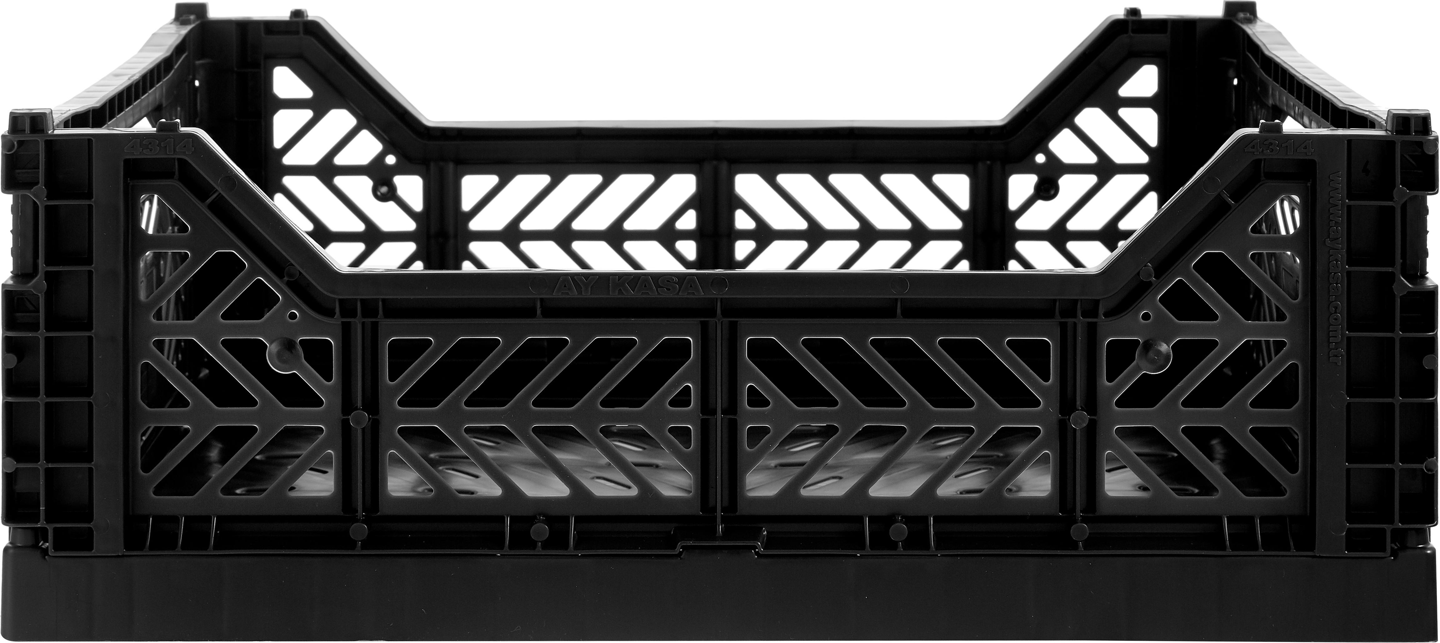 Cesto medio pieghevole e impilabile Midi, Materiale sintetico riciclato, Nero, Larg. 40 x Alt. 14 cm