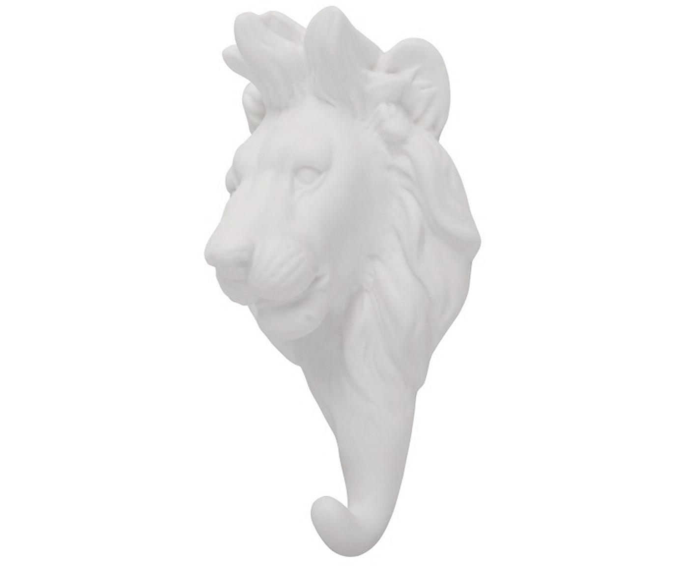 Gancio da parete in porcellana Lion, Porcellana, Bianco, Alt. 15 cm