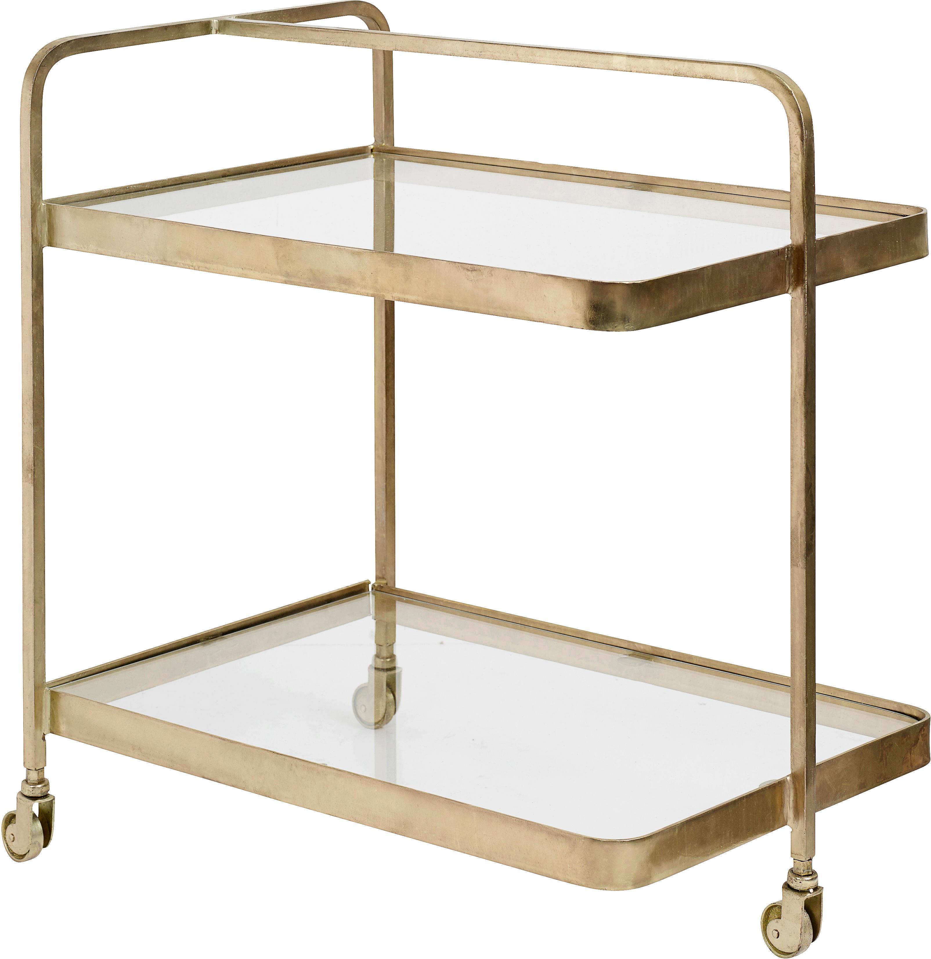 Carrello di servizio in metallo e vetro Troy, Struttura: metallo ottonato, Ripiani: vetro, Dorato, Larg. 70 x Alt. 75 cm