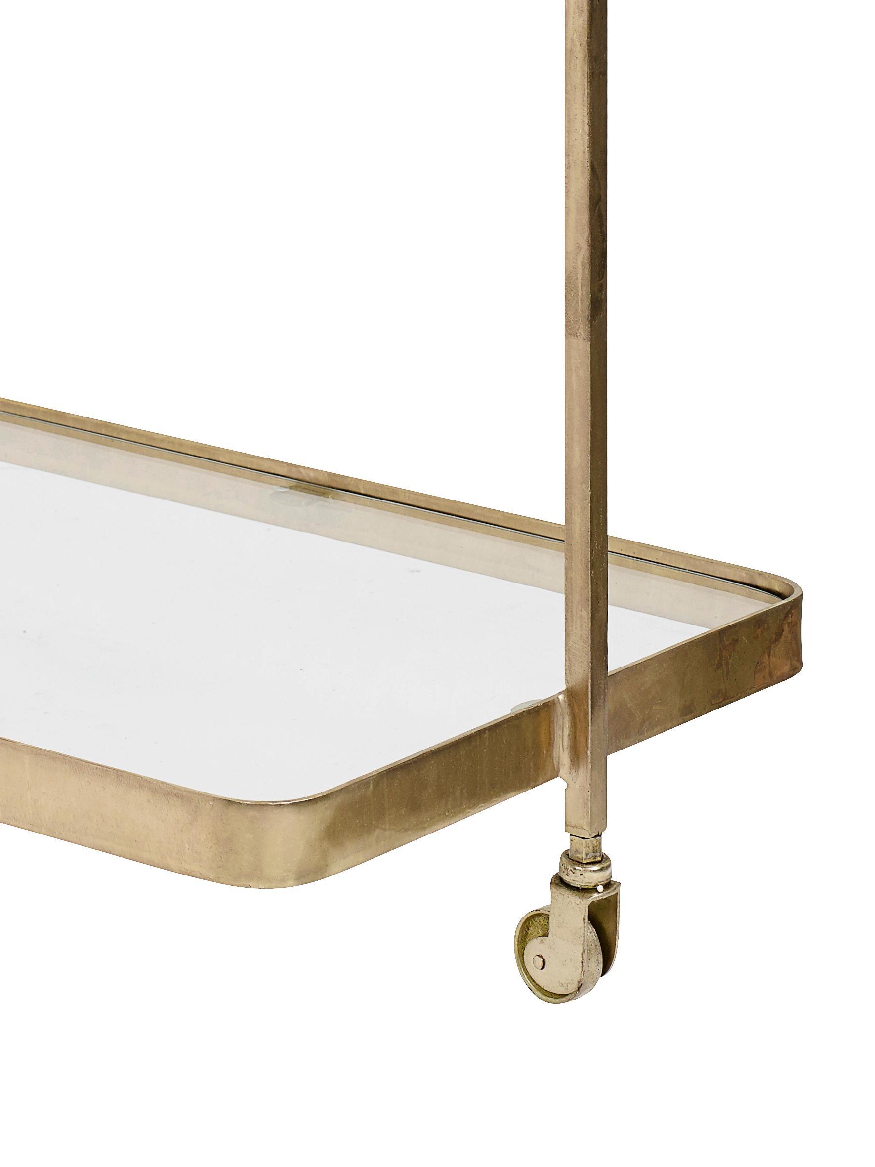 Metalen barcart Troy met glazen plateaus, Frame: vermessingd metaal, Plateaus: glas, Goudkleurig, 70 x 75 cm