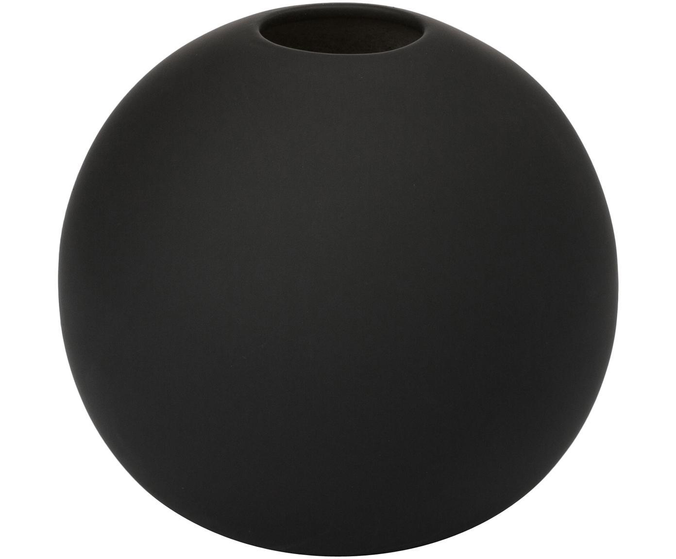 Vaas Ball, Keramiek, Zwart, Ø 10 x H 10 cm