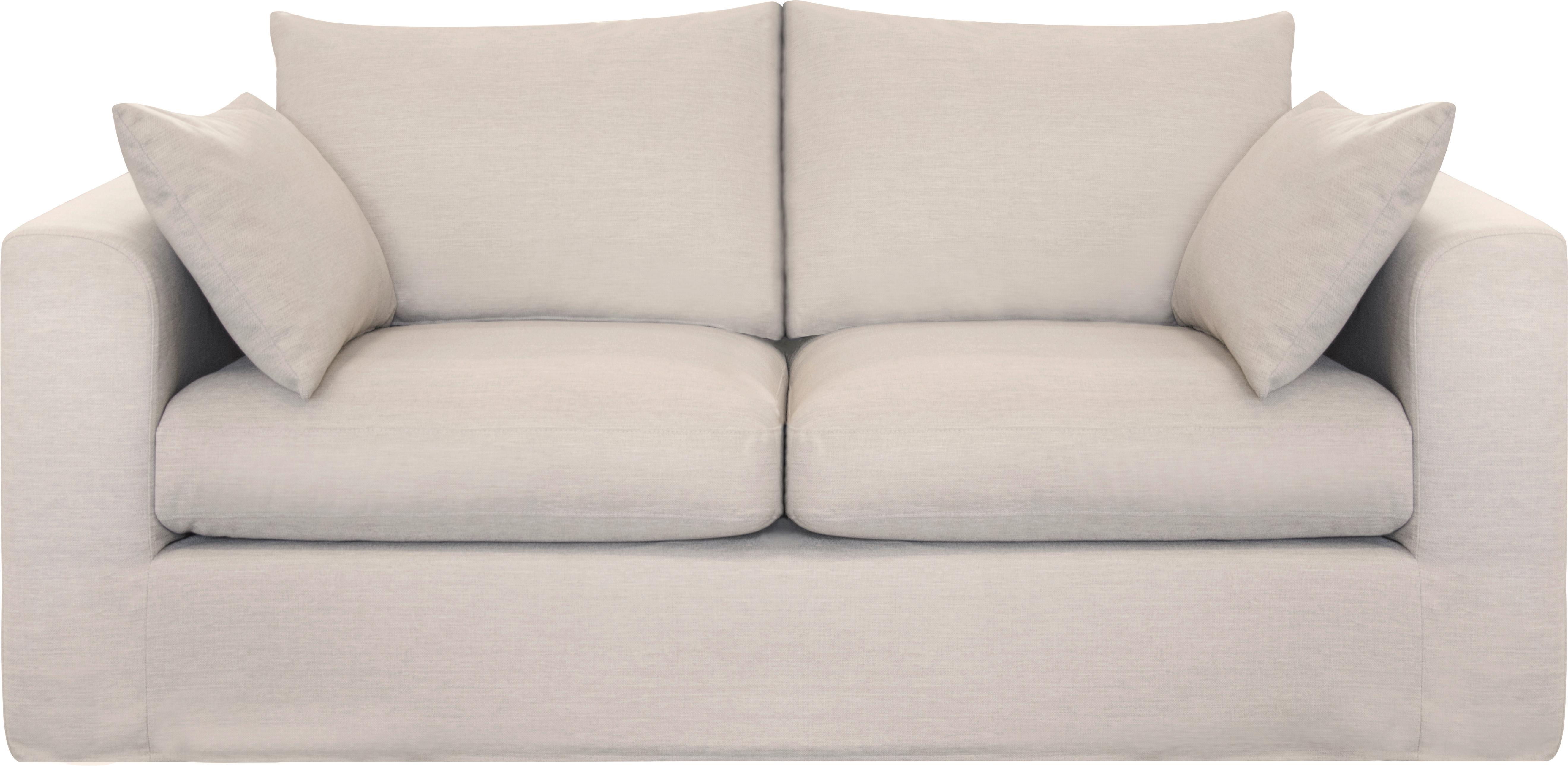 Divano 2 posti in tessuto grigio Zach, Rivestimento: 100% polipropilene, Struttura: truciolato e legno massic, Tessuto: beige, Larg. 191 x Prof. 90 cm