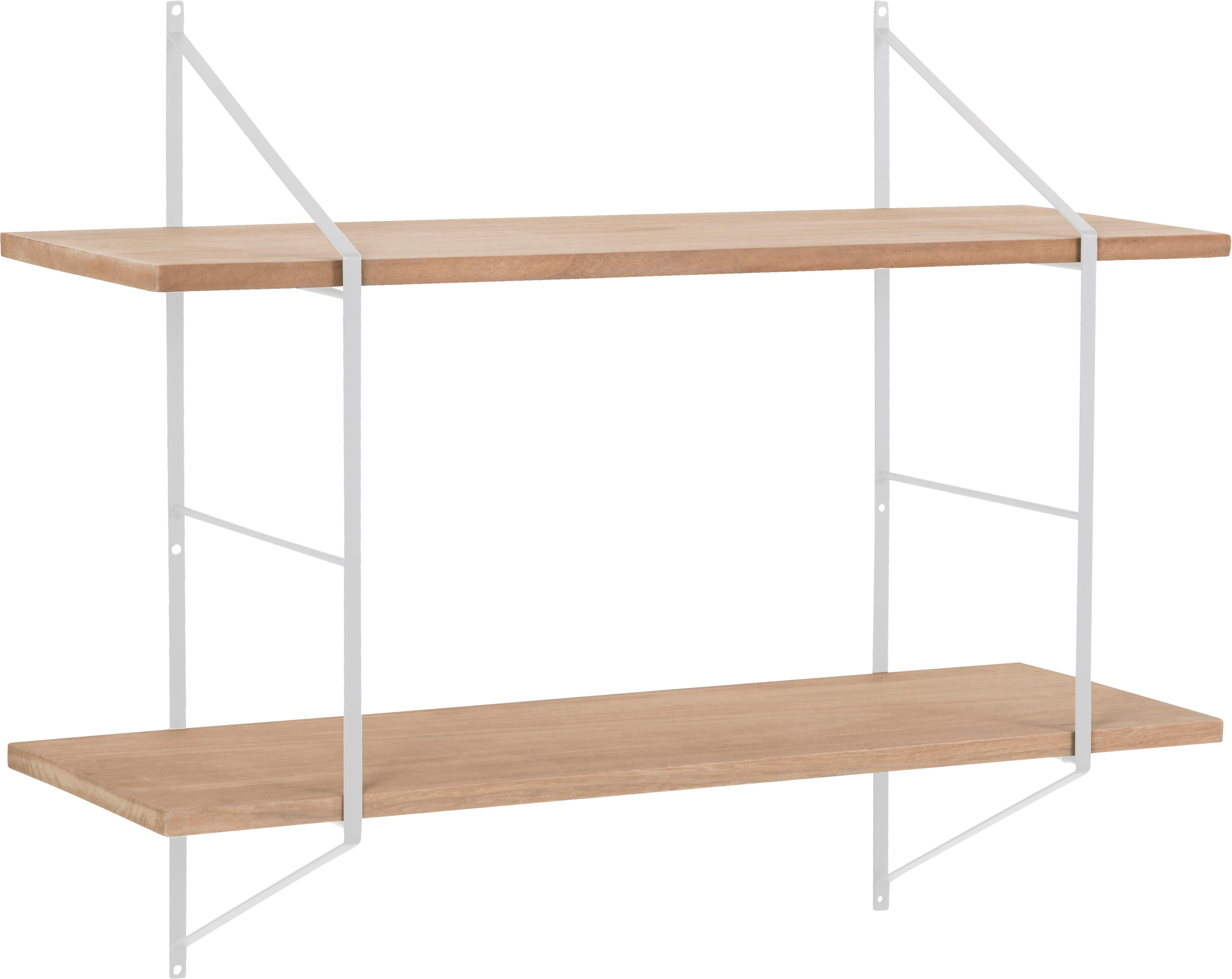 Estante de pared pequeño de madera y metal Belfast, Estructura: metal con pintura en polv, Estantes: madera de Paulownia engra, Blanco, beige, An 76 x Al 63 cm