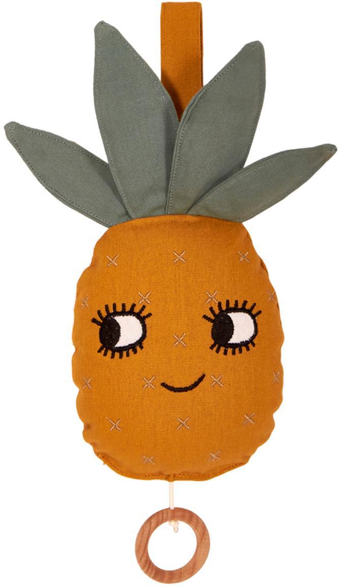 Handgefertigte Spieluhr Pineapple, Baumwolle, GOTS- und OCS-zertifiziert, Gelb, 10 x 25 cm