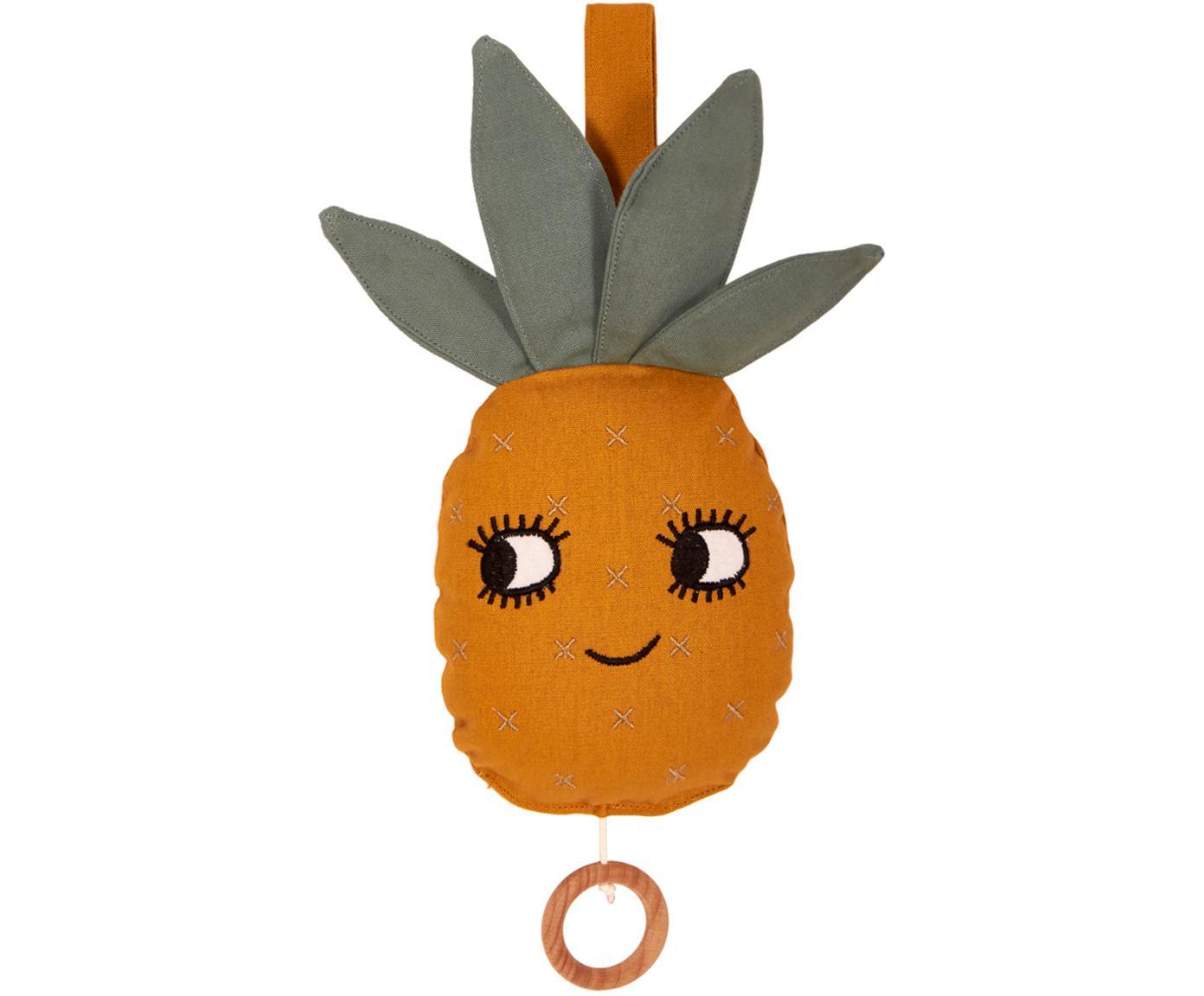 Handgemaakte speelklok Pineapple, Katoen, Geel, 10 x 25 cm