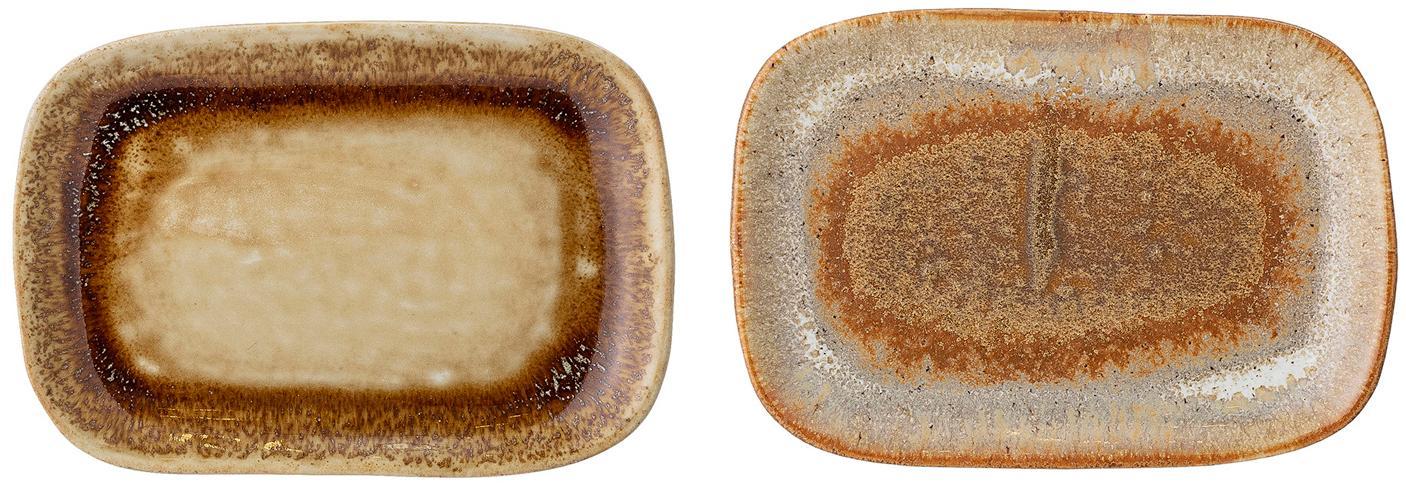 Handgemachte Servierplatten Willow, 2er-Set., Steingut, Brauntöne, B 14 x T 10 cm
