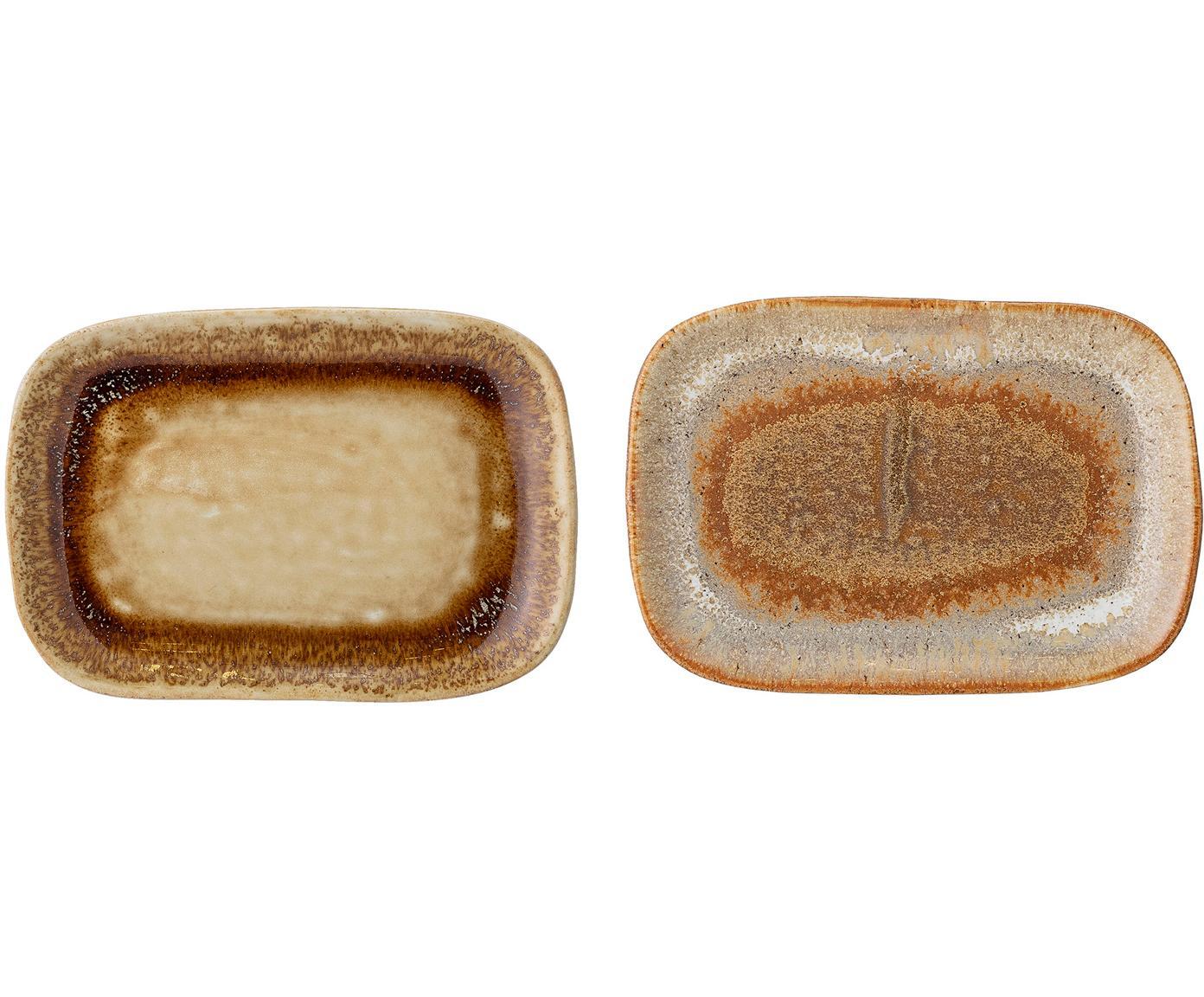 Handgemaakte serveerplateaus-set Willow, 2-delig, Keramiek, Bruintinten, B 14 x D 10 cm