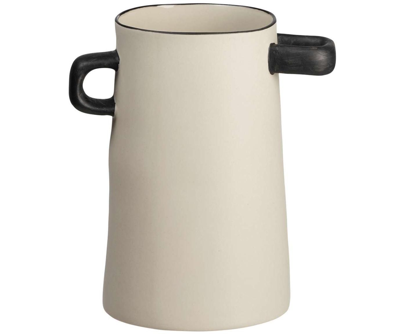 Handgefertigte Vase Rayu aus Steingut, Steingut, Beige, Schwarz, Ø 11 x H 17 cm