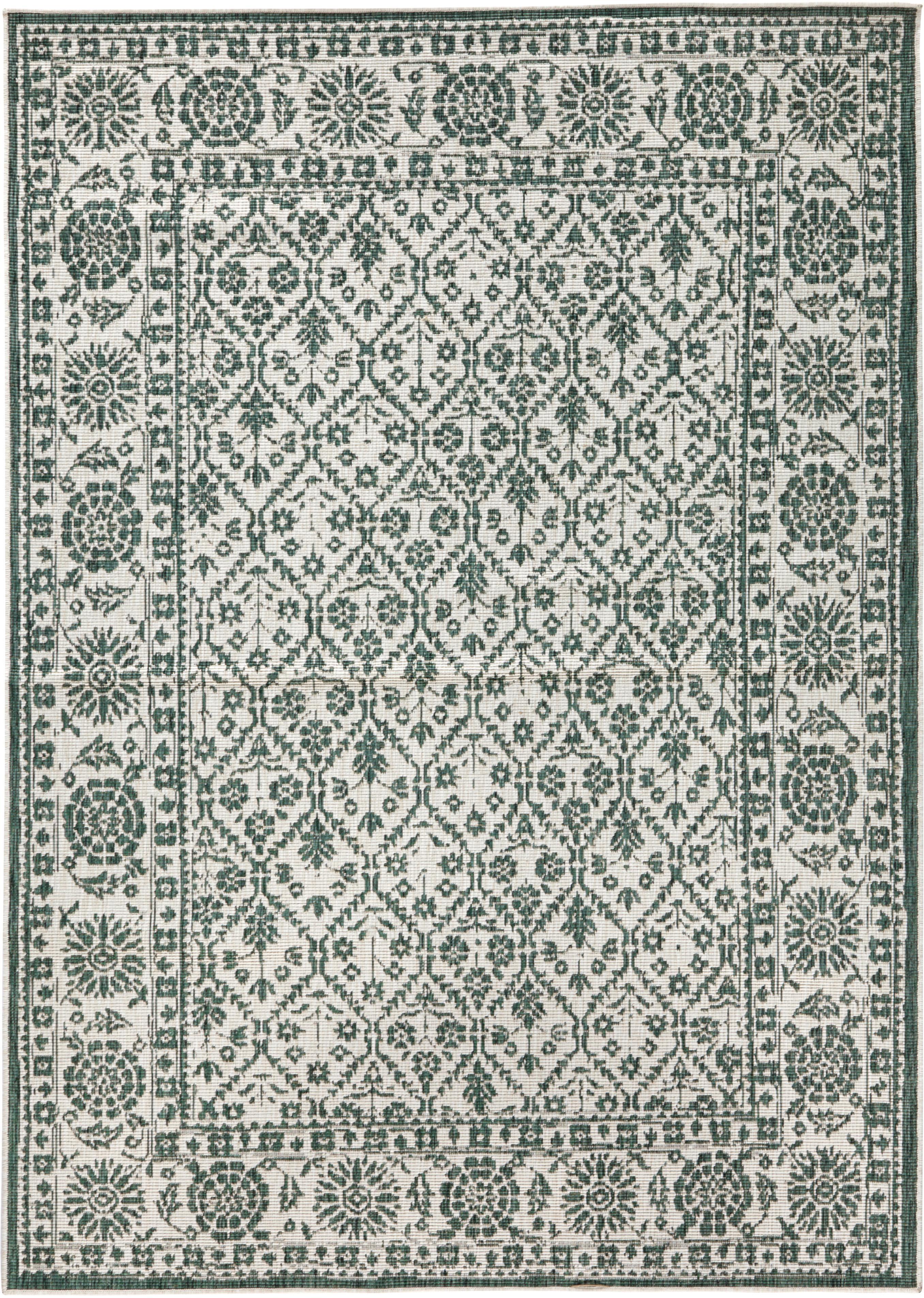 Alfombra reversible de interior/exterior Curacao, estilo vintage, Verde, crema, An 200 x L 290 cm (Tamaño L)