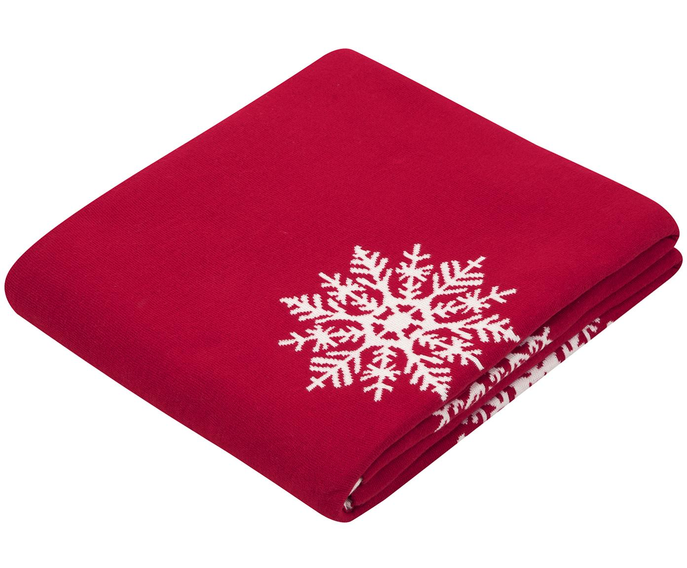Wendeplaid Snowflake in Rot/Weiss, 100% Baumwolle, Rot, Cremeweiss, 150 x 200 cm