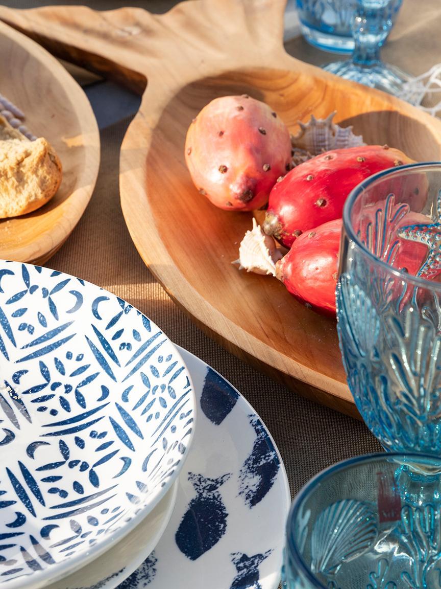 Verres à vin teintés à embossages coquille Pantelleria, 6 élém., Tons bleus