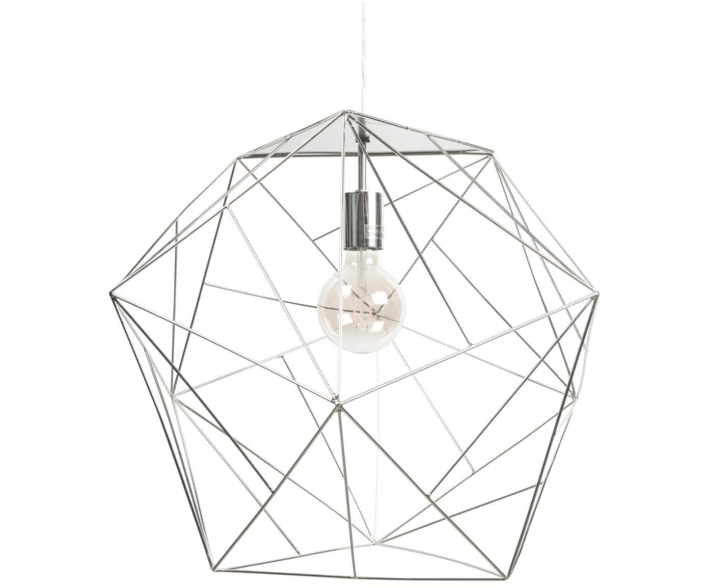 Grote hanglamp Cape Town, Lampenkap: gecoat edelstaal, Zilverkleurig, Ø 51 x H 45 cm