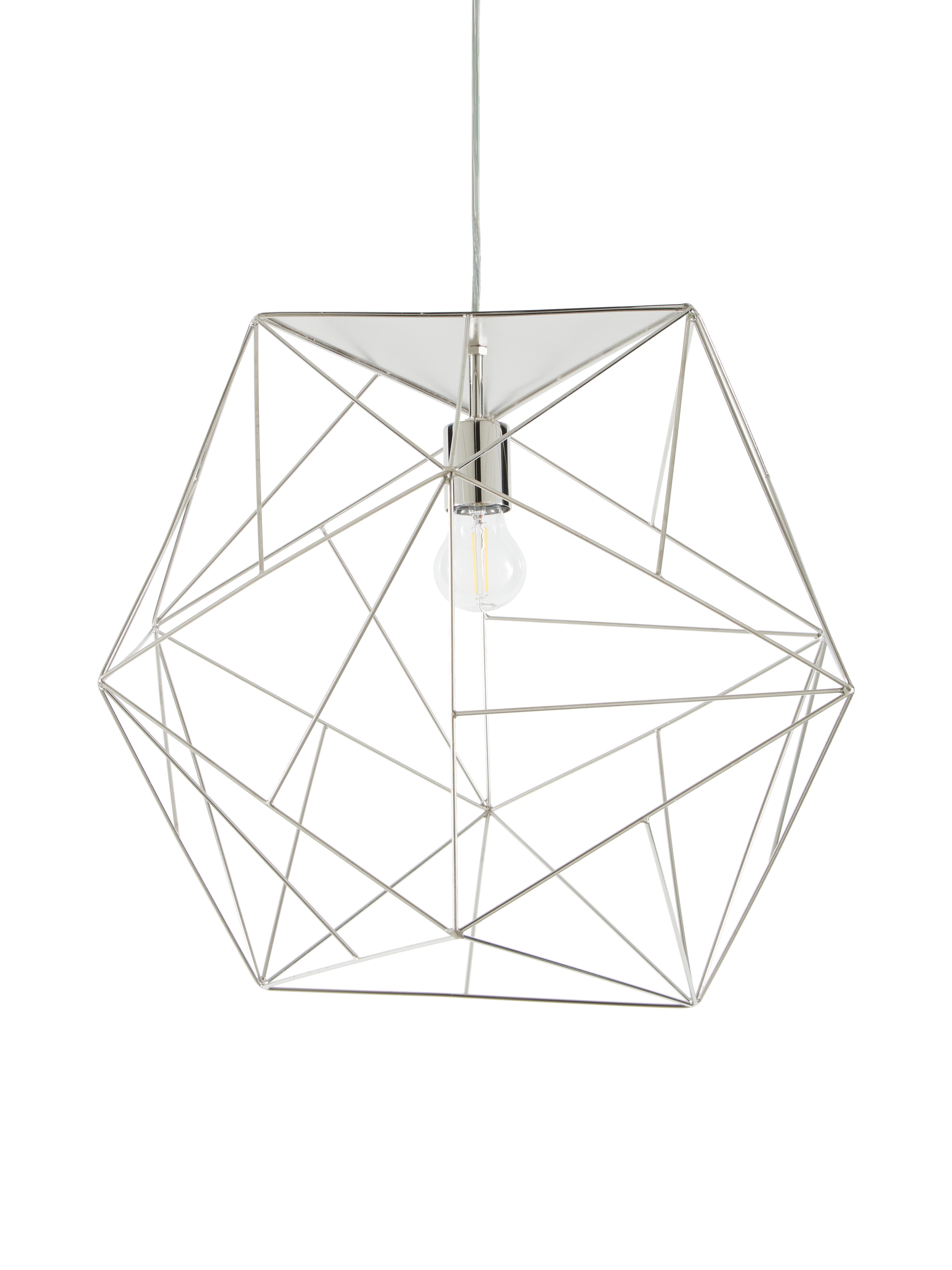 Lámpara de techo Cape Town, Pantalla: acero inoxidable recubier, Cable: plástico, Plateado, Ø 51 x Al 45 cm