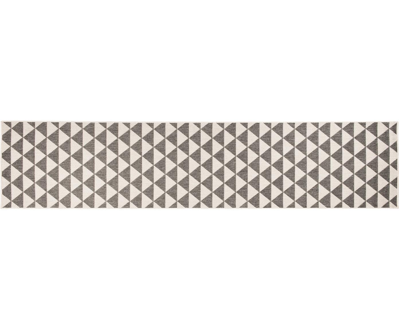 In- & outdoor loper met patroon Tahiti in grijs/crèmekleur, 100% polypropyleen, Grijs, crèmekleurig, 80 x 350 cm