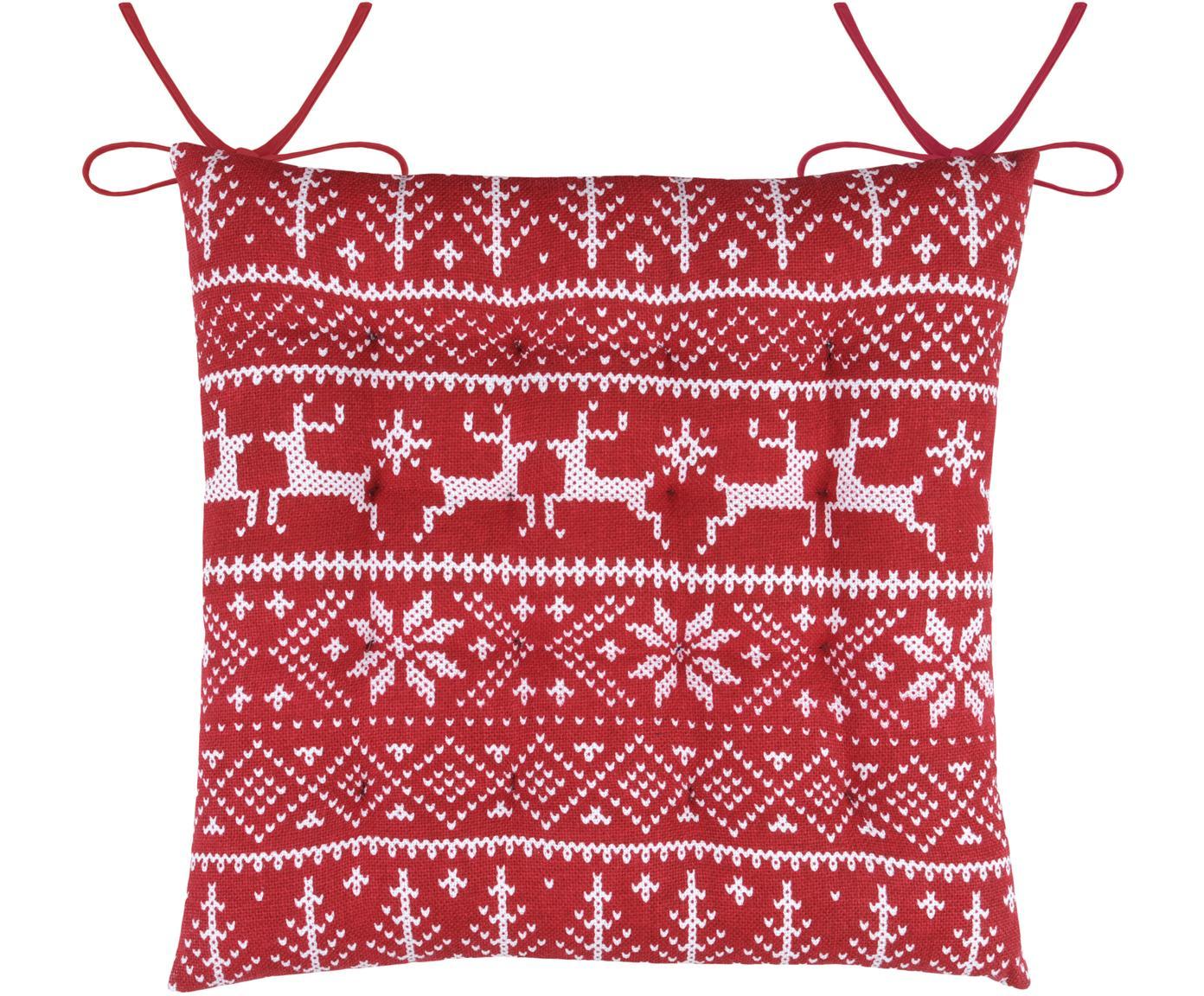 Cuscino sedia con motivo invernale Valmorel, Rosso, bianco, Larg. 40 x Lung. 40 cm