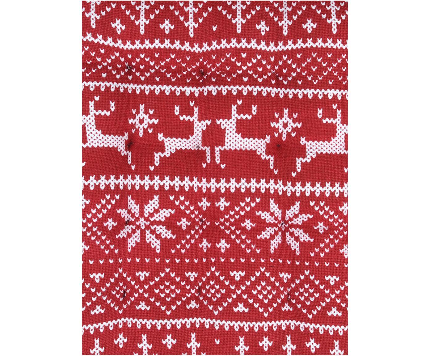Sitzkissen Valmorel mit winterlichen Motiven, Rot, Weiß, 40 x 40 cm