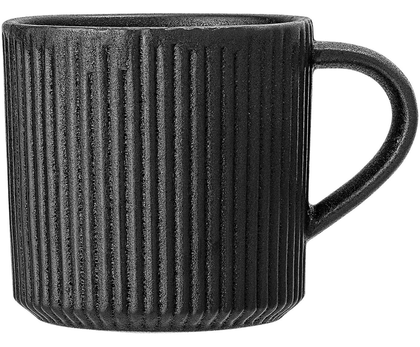 Tazas con relieves Neri, 2uds., Gres, Negro, Ø 9 x Al 9 cm