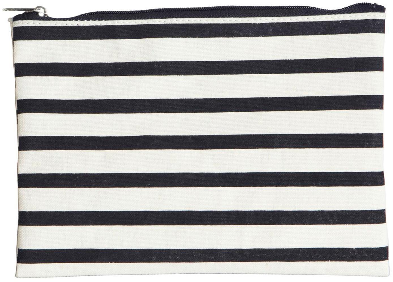 Kosmetiktasche Stripes mit Reißverschluss, 38%Baumwolle, 40%Polyester, 22%Rayon, Schwarz, Weiß, 21 x 15 cm