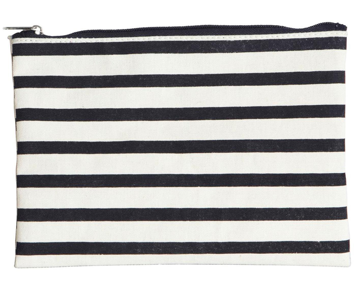 Portatrucchi con cerniera Stripes, 38% cotone, 40% poliestere, 22% rayon, Nero, bianco, Larg. 21 x Alt. 15 cm