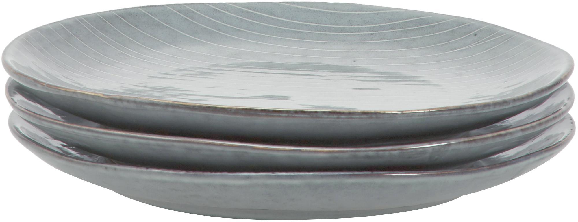 Ręcznie wykonany komplet naczyń śniadaniowych z kamionki Nordic Sea, 12 elem., Kamionka, Szary, niebieski, Komplet z różnymi rozmiarami