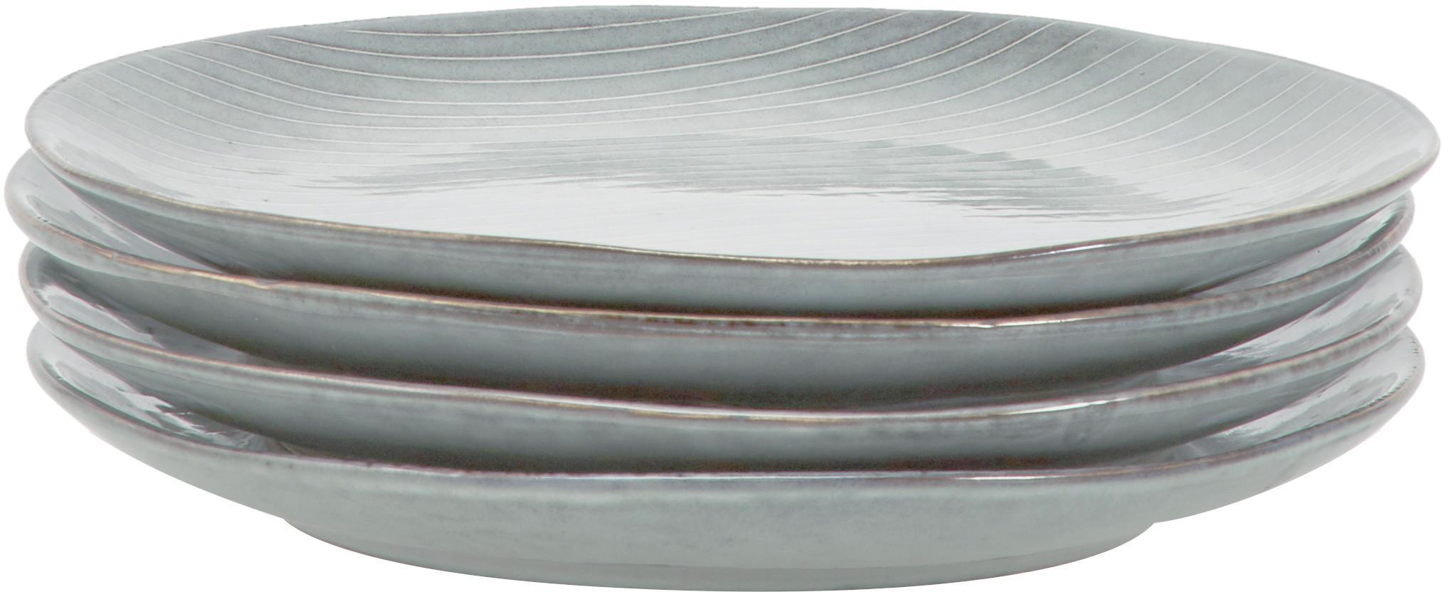 Handgemachtes Frühstücks-Set Nordic Sea aus Steingut, 4 Personen (12-tlg.), Steingut, Grau, Blau, Verschiedene Grössen