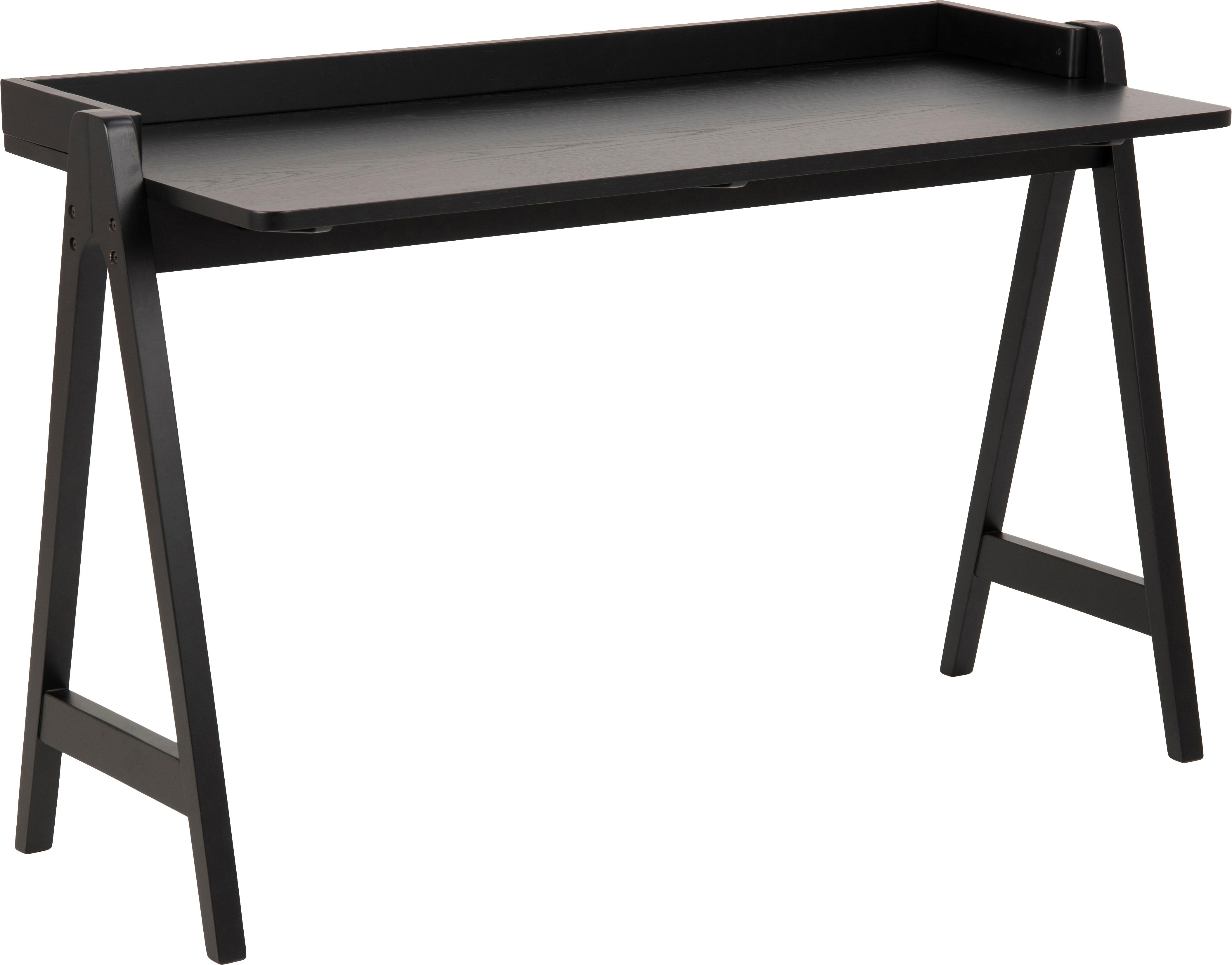 Moderner Schreibtisch Miso, Mitteldichte Holzfaserplatte (MDF), gebeizt Gummibaumholz, lackiert, Schwarz, B 127 x T 52 cm