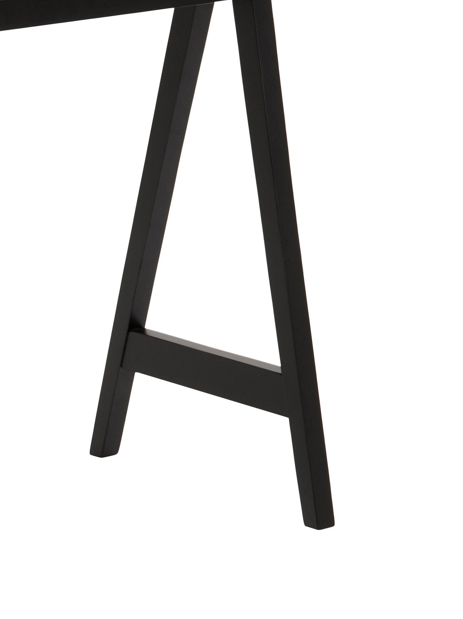Scrivania moderna Miso, Pannello di fibra a media densità (MDF) verniciato, Nero, Larg. 127 x Prof. 52 cm