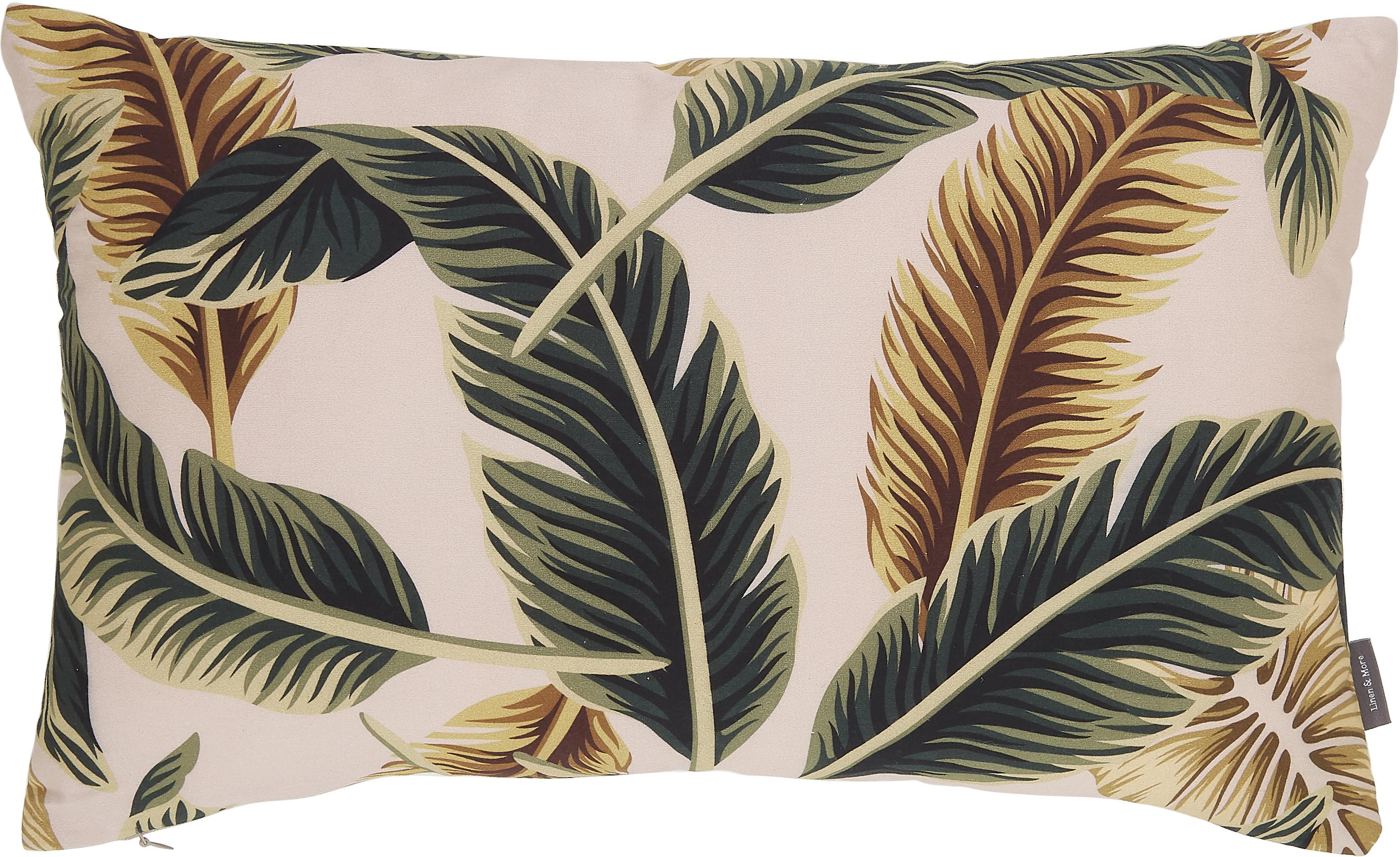 Cuscino con imbottitura Elegant Feather, 100% cotone, Beige, verde, giallo dorato, Larg. 30 x Lung. 50 cm