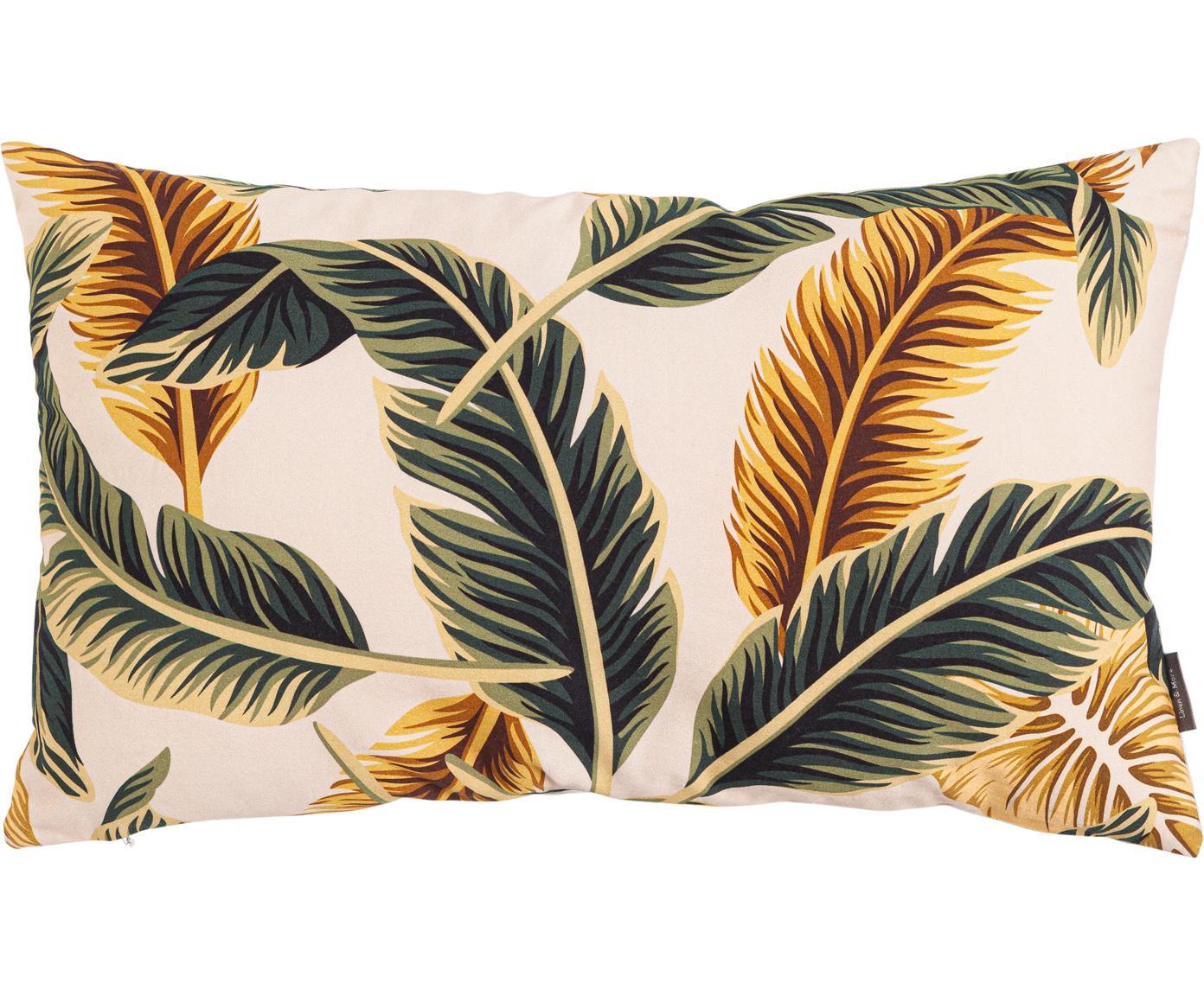 Kussen Elegant Feather, met vulling, Katoen, Beige, groen, goudgeel, 30 x 50 cm