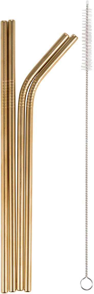 Set di 5 cannucce Matera, Acciaio inossidabile, Dorato, Lung. 28 cm