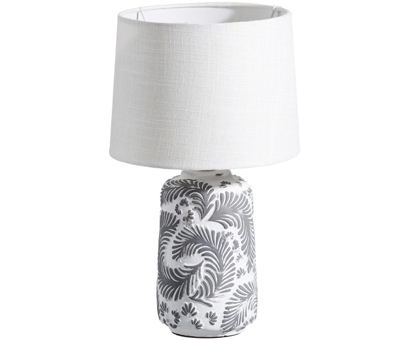 Tischleuchte Folk, Lampenschirm: Textil, Lampenfuß: Keramik, Weiß, Grau, Ø 23 x H 38 cm