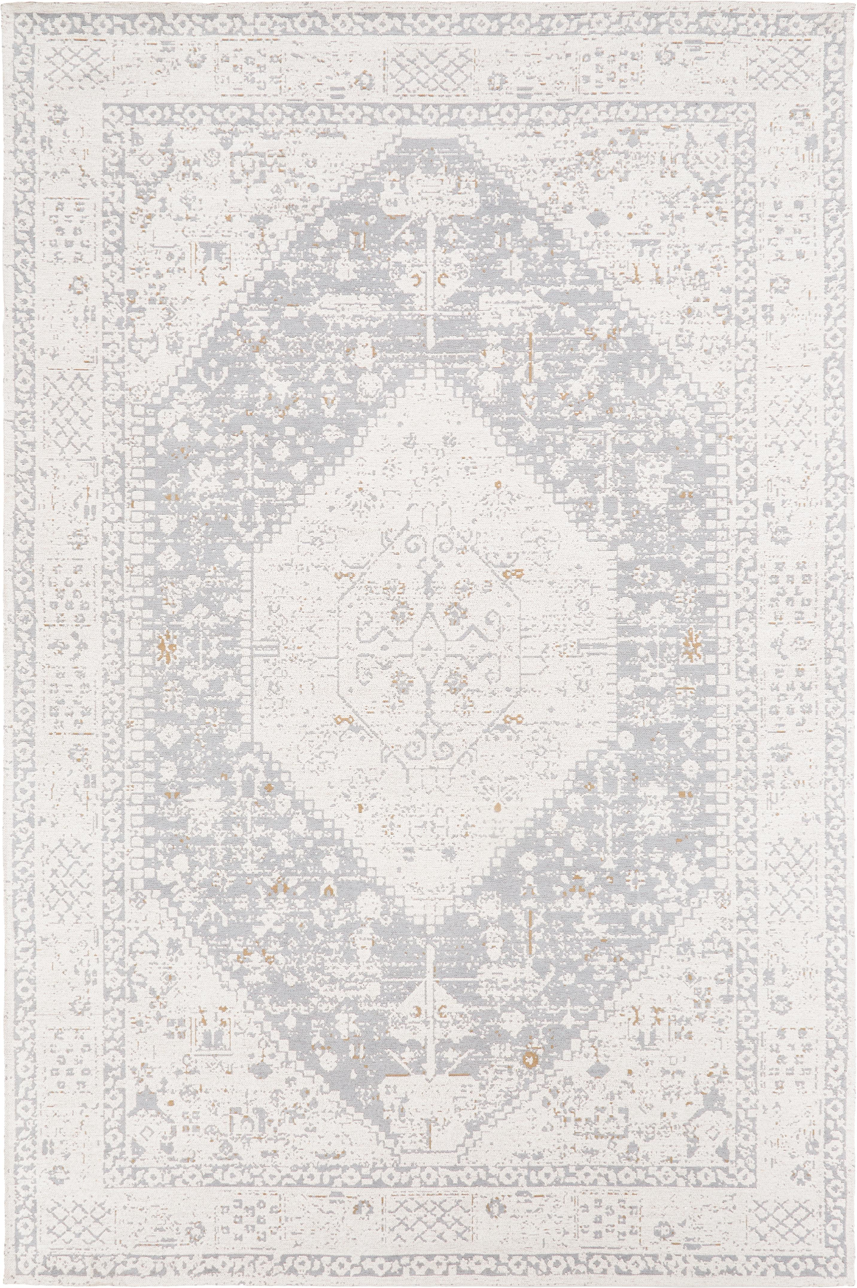 Handgewebter Chenilleteppich Neapel im Vintage Style, Flor: 95% Baumwolle, 5% Polyest, Hellgrau, Creme, Taupe, B 160 x L 230 cm (Größe M)