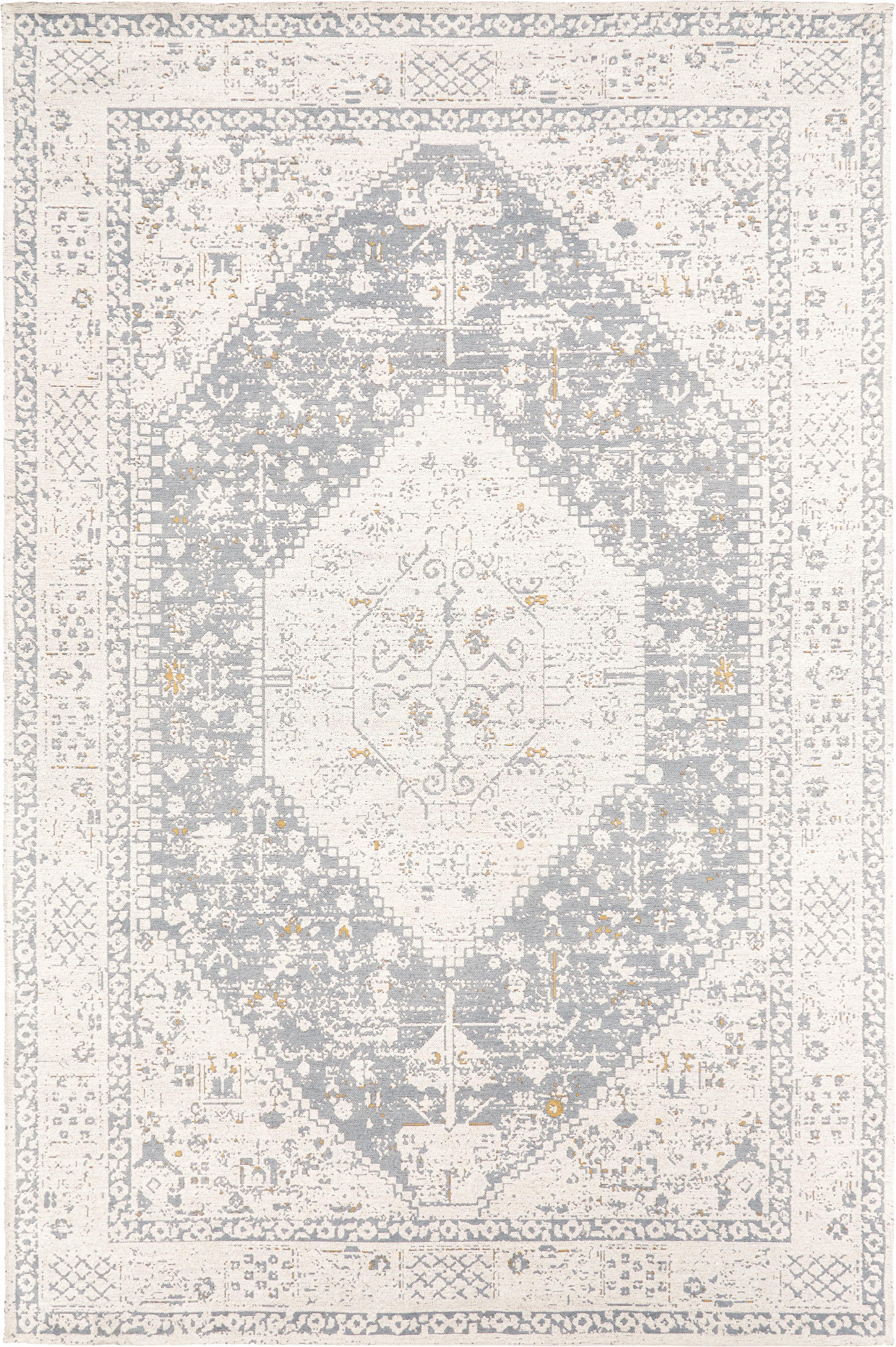 Handgewebter Chenilleteppich Neapel im Vintage Style, Flor: 95% Baumwolle, 5% Polyest, Hellgrau, Creme, Taupe, B 160 x L 230 cm (Grösse M)