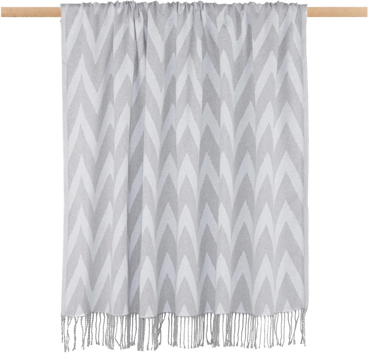 Plaid reversibile Ella, Cotone, Grigio, grigio chiaro, Larg. 140 x Lung. 170 cm