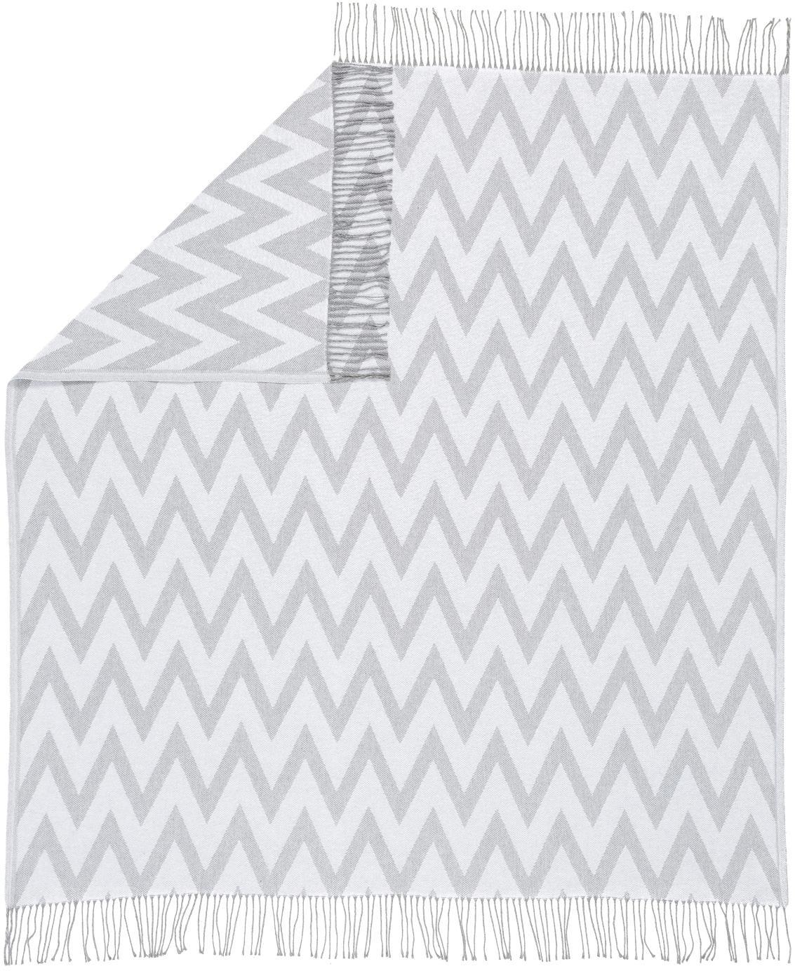 Wendeplaid Ella, 100% Baumwolle, Grau, Hellgrau, 140 x 170 cm
