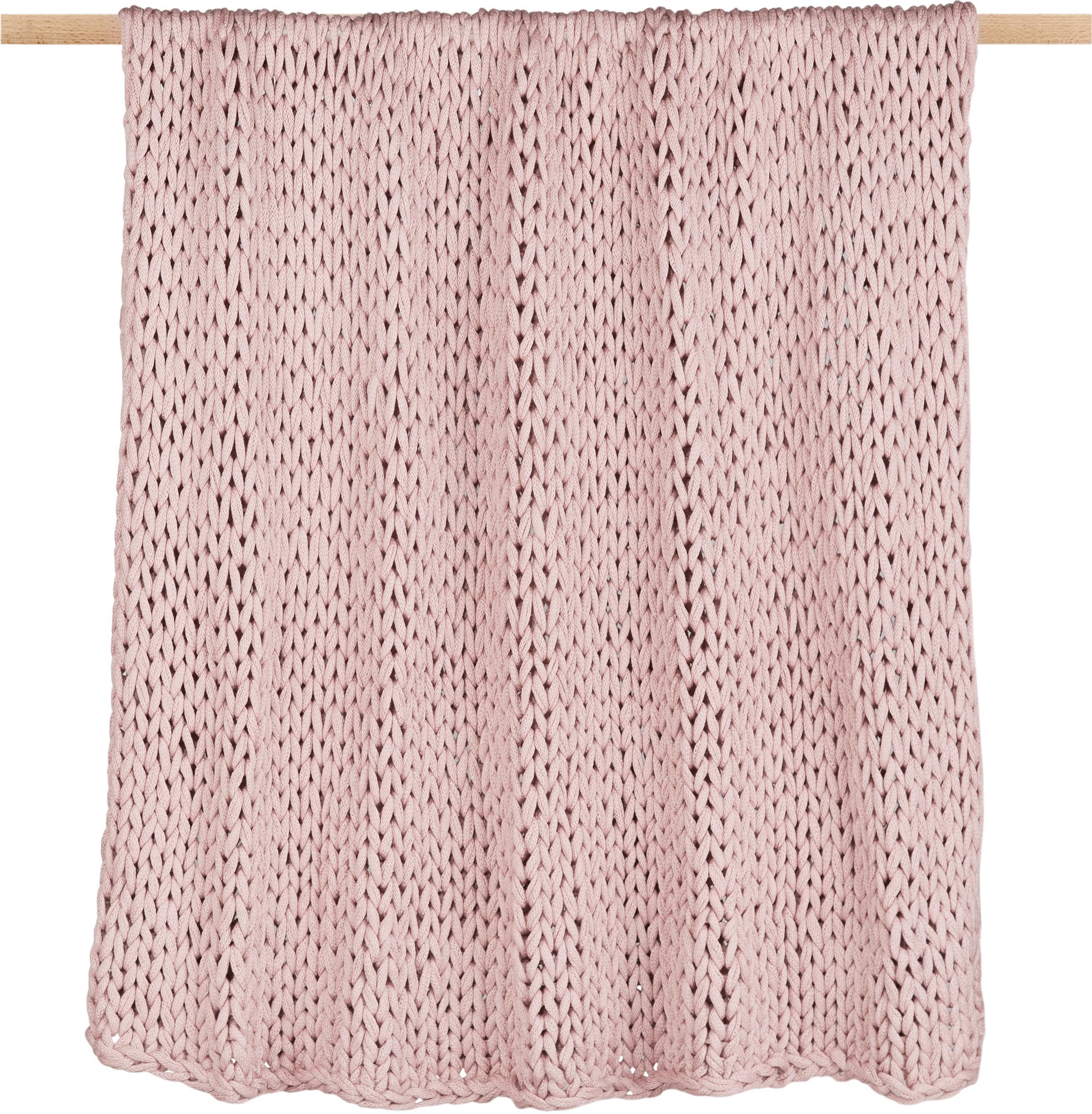 Plaid a maglia Adyna, 100% acrilico, Rosa, 150 x 200 cm