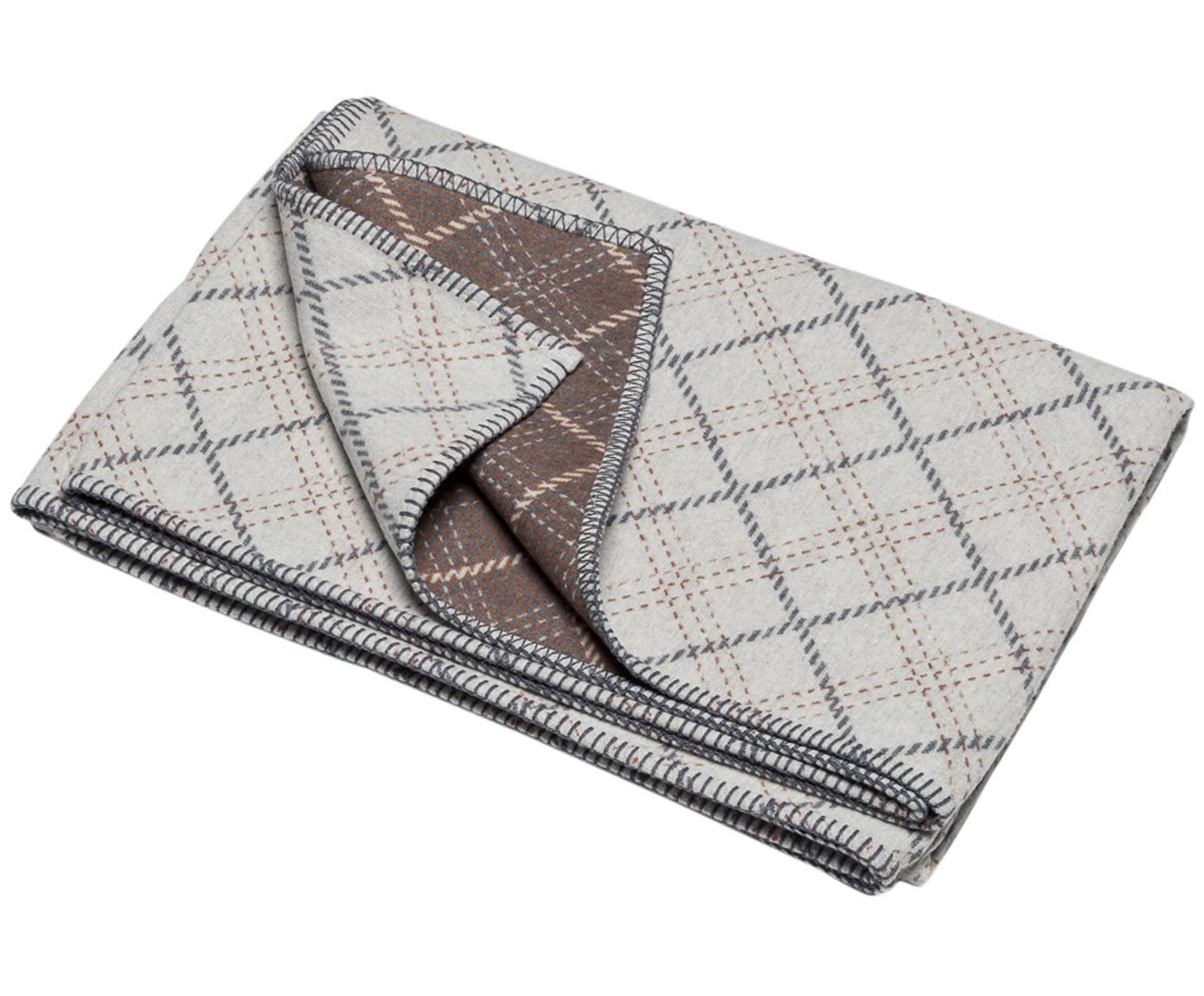Manta Karol, Tapizado: 85%algodón, 8%viscosa, , Gris claro, gris, beige, An 140 x L 200 cm