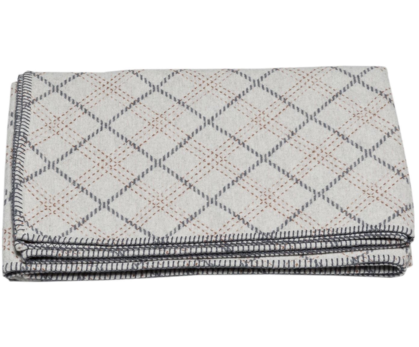 Plaid Karol mit Karos, Bezug: 85% Baumwolle, 8% Viskose, Hellgrau, Grau, Beige, 140 x 200 cm