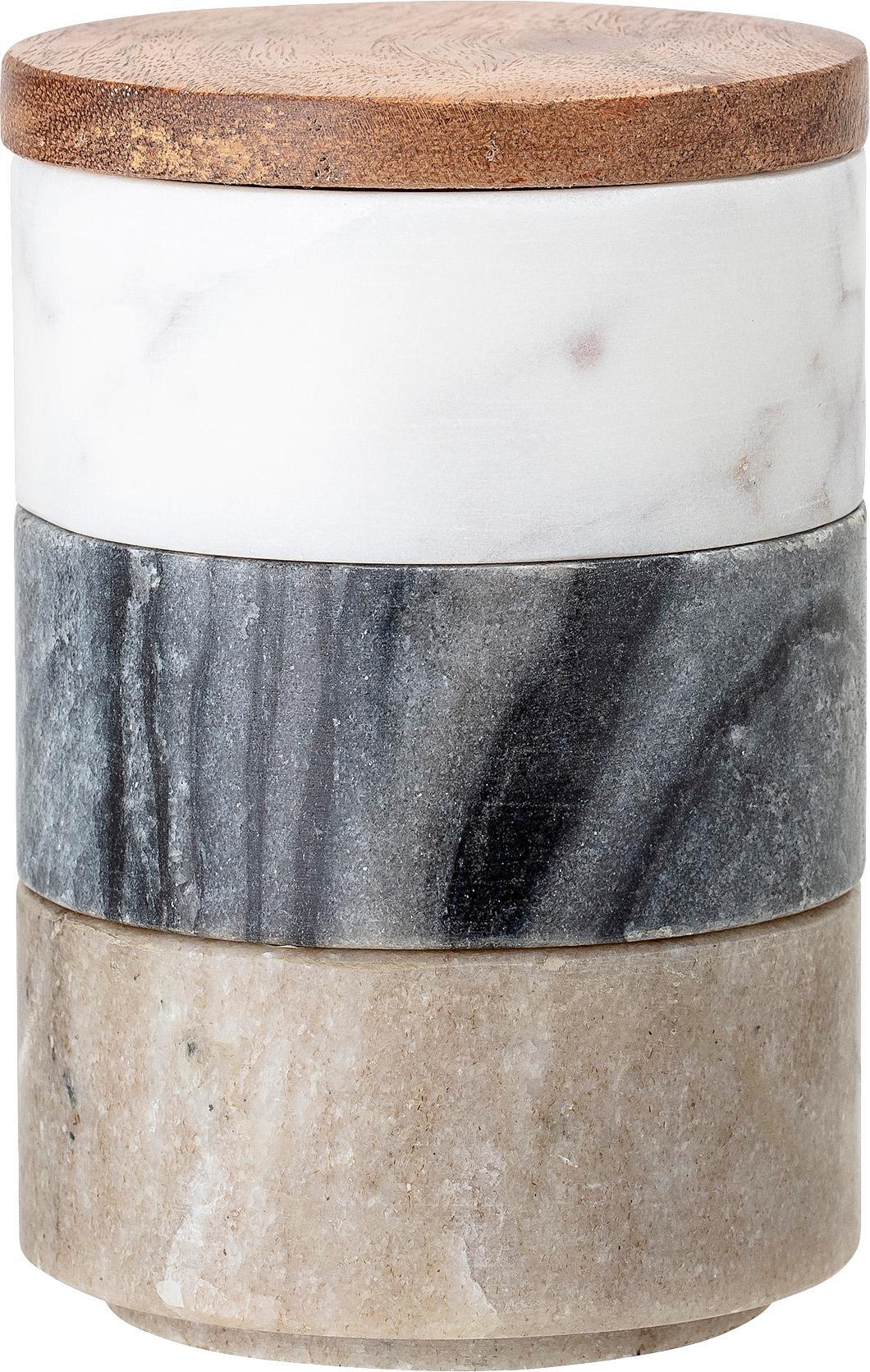 Kleine Aufbewahrungsdosen Gatherings aus Marmor, 4er-Set, Dosen: Marmor, Deckel: Akazienholz, Braun, Grau, Weiß, marmoriert, Ø 8 x H 12 cm