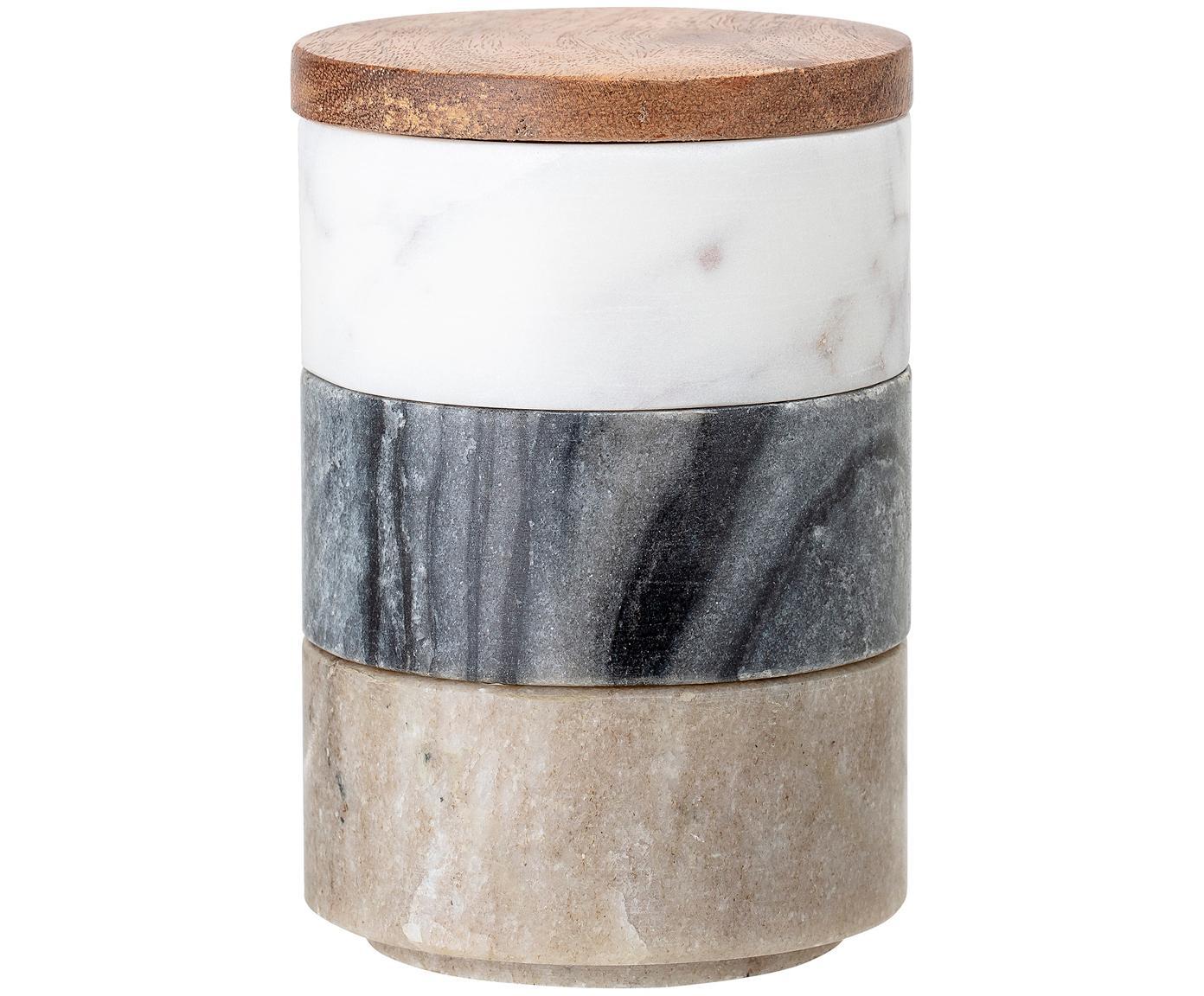 Kleine Aufbewahrungsdosen Gatherings aus Marmor, 4er-Set, Dosen: Marmor, Deckel: Akazienholz, Braun, Grau, Weiss, marmoriert, Ø 8 x H 12 cm