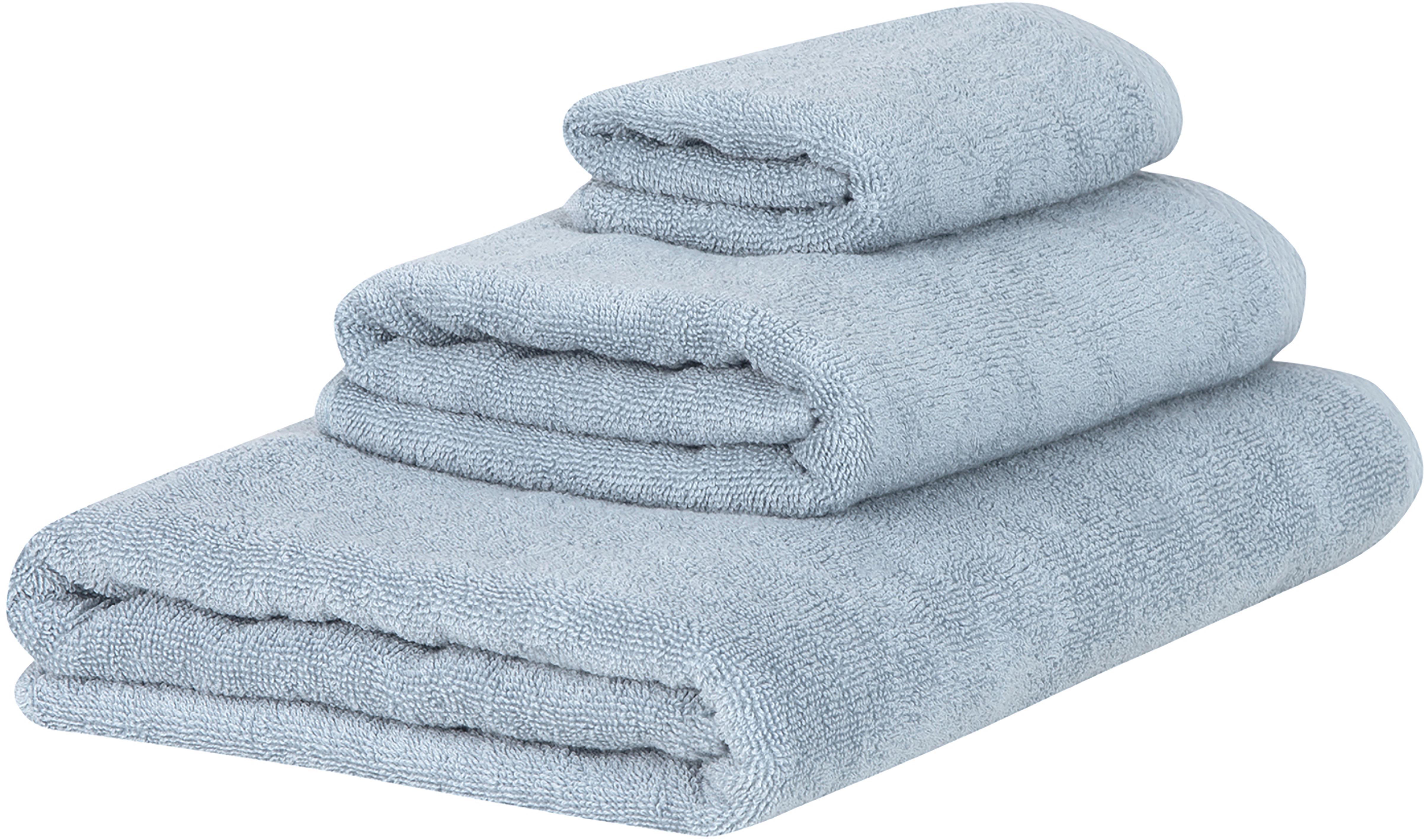 Einfarbiges Handtuch-Set Comfort, 3-tlg., Hellblau, Verschiedene Grössen