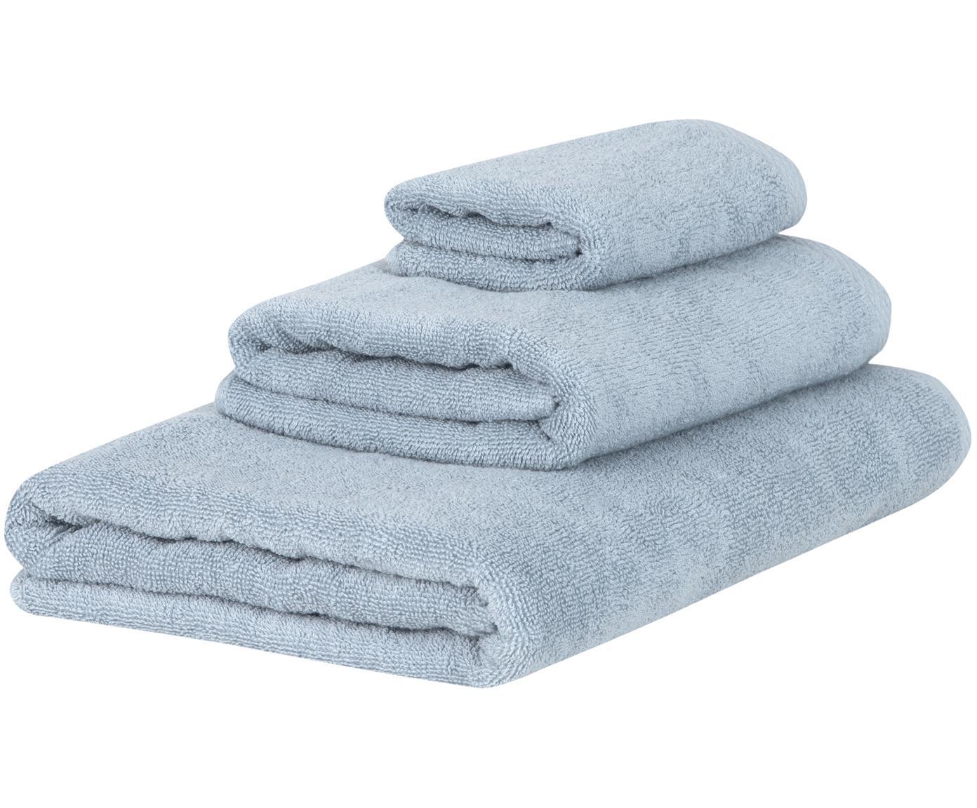Set 3 asciugamani Comfort, Azzurro, Diverse dimensioni