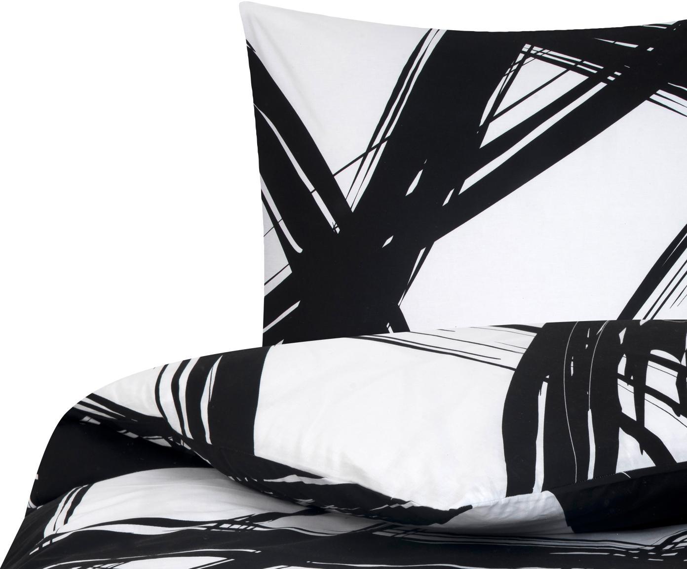 Pościel z bawełny renforcé Brush, Czarny, biały, 155 x 220 cm