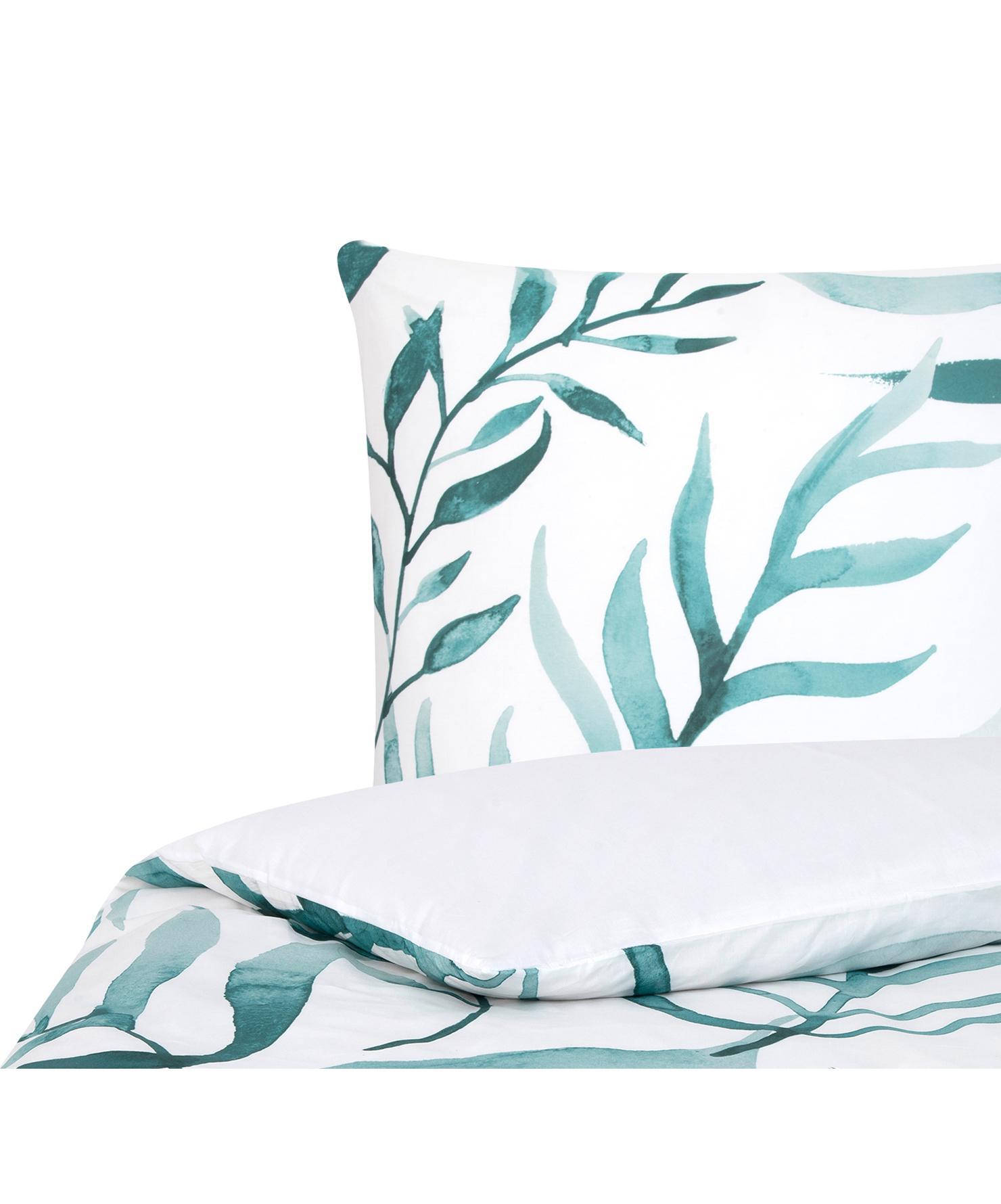 Parure copripiumino reversibile in percalle Francine, Tessuto: percalle Densità del filo, Fronte: verde, bianco Retro: bianco, 155 x 200 cm