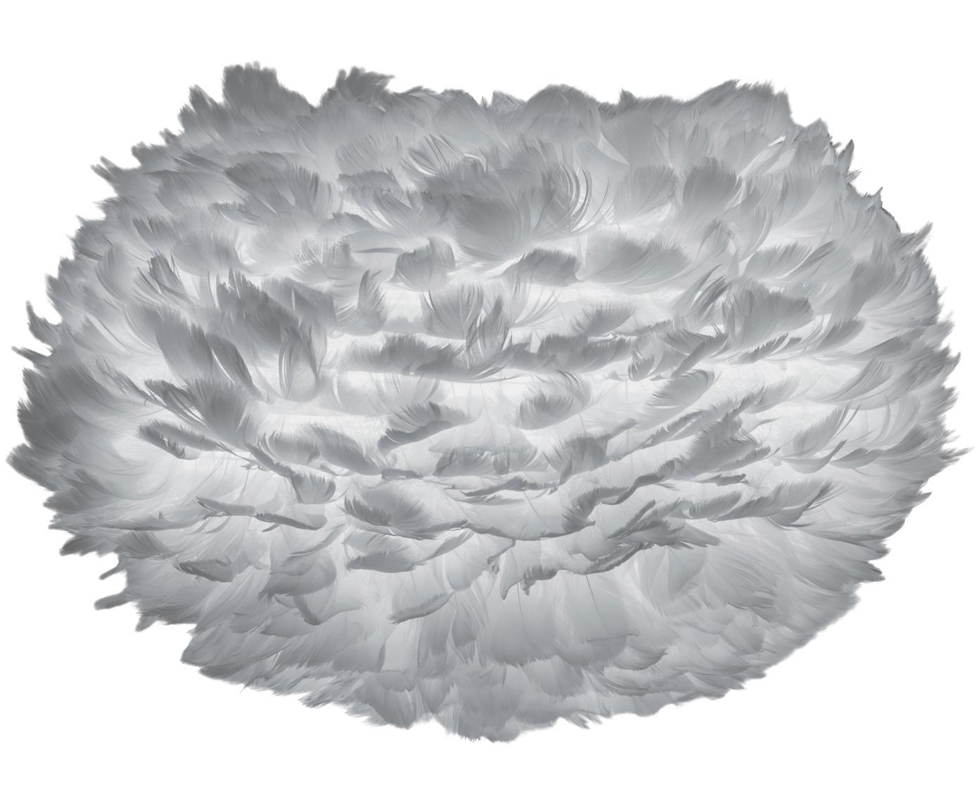 Lampenschirm Eos aus Federn, Gänsefedern, Stahl, Hellgrau, Ø 65 x H 40 cm