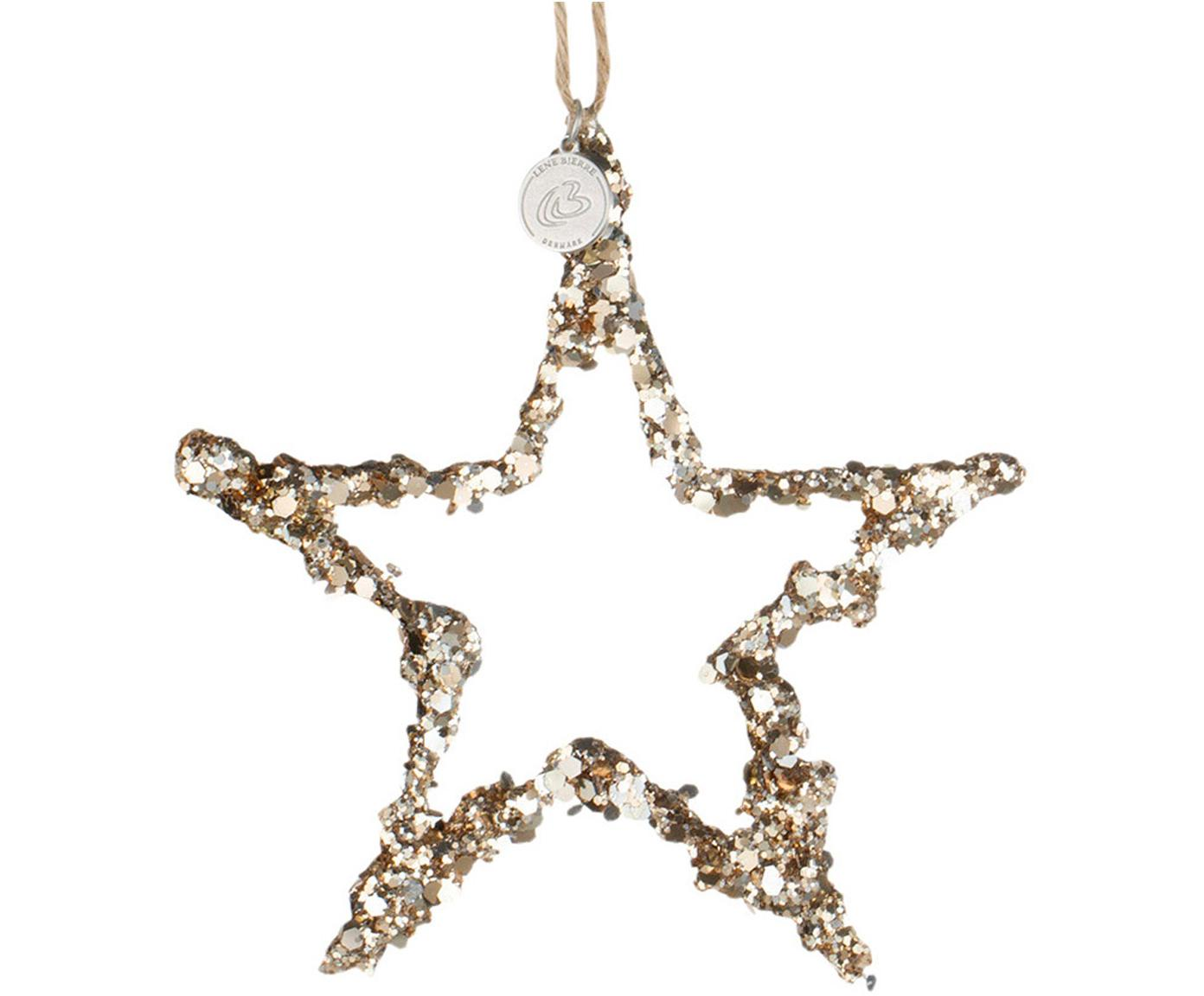 Kerstboomhanger Flora Star, Goudkleurig, 12 x 13 cm