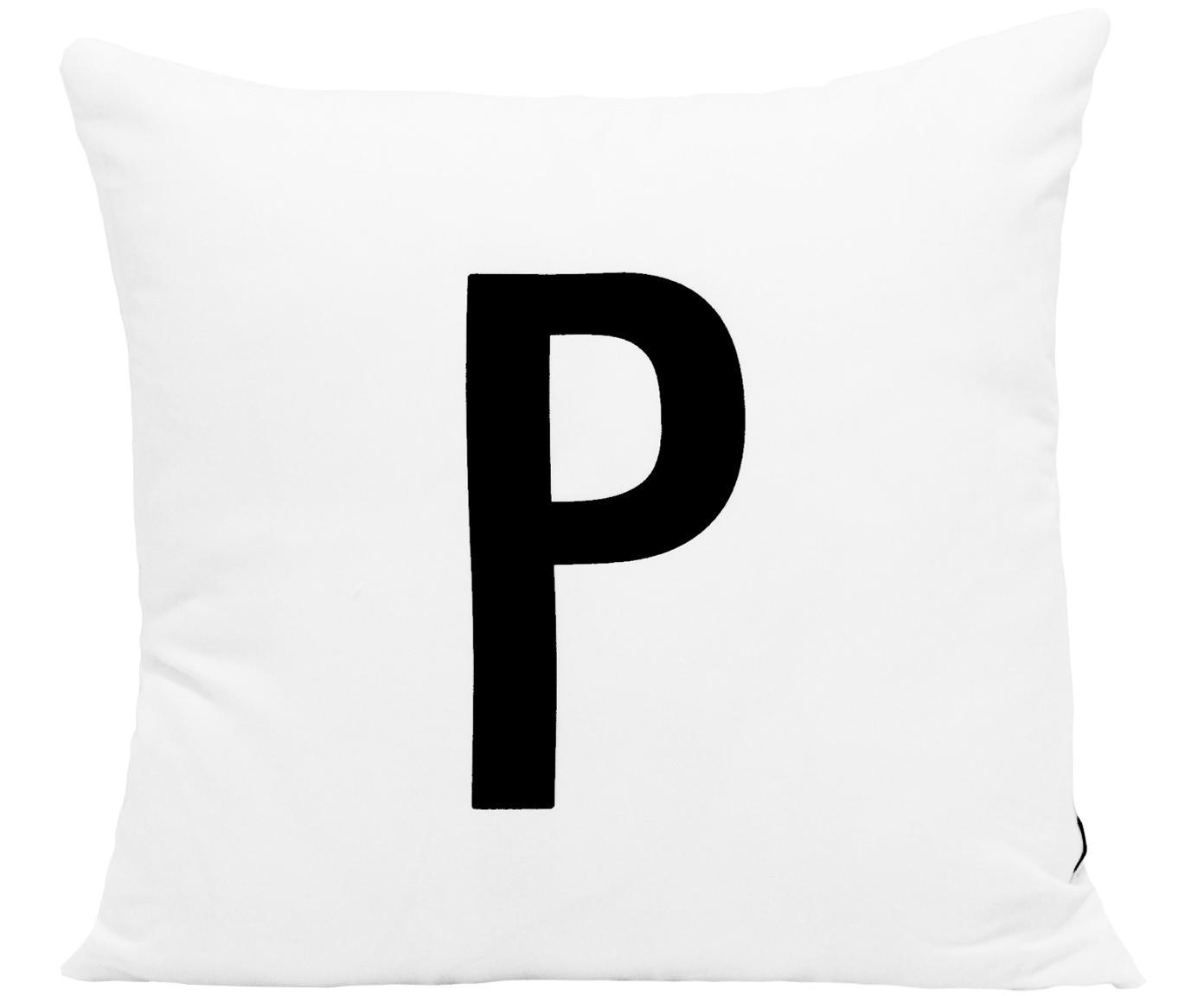 Funda de cojín Alphabet (variantes de A a Z), Poliéster, Negro, blanco, Variante P