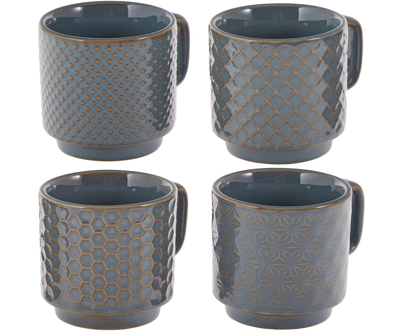 Tazas de café Lara, 4uds., Gres, Gris azulado, marrón, Ø 6 x Al 6 cm