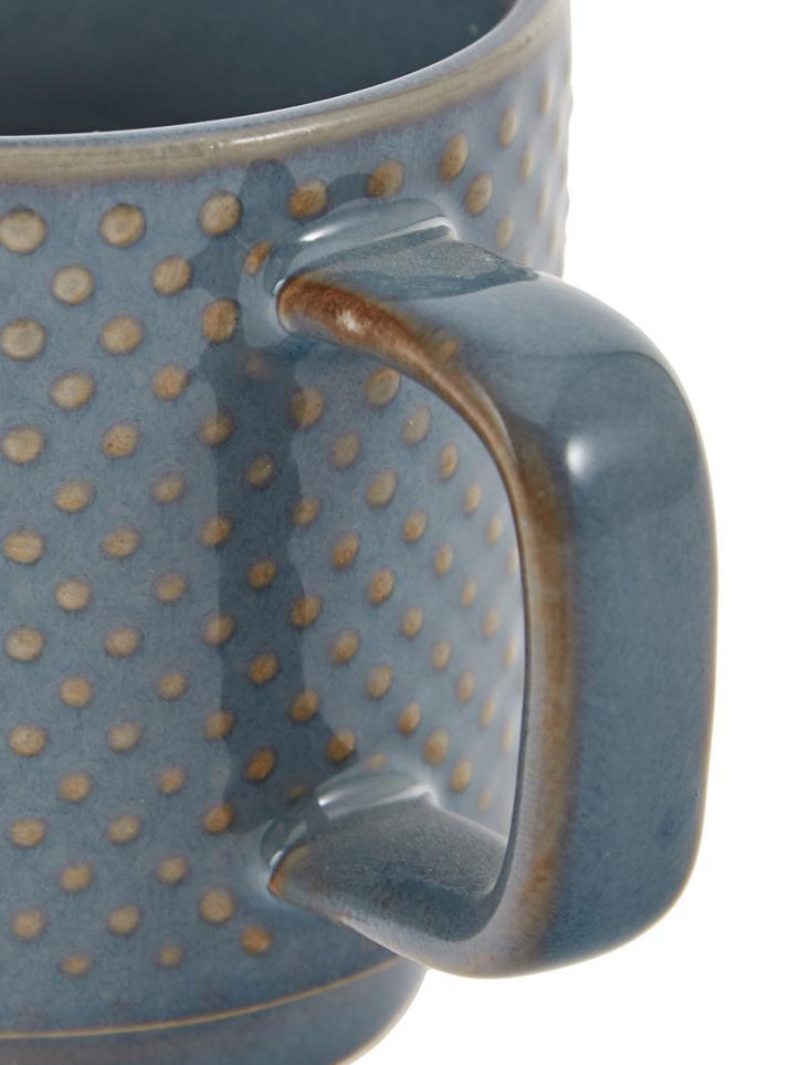 Gemusterte Espressotassen Lara, 4er-Set, Steingut, Blaugrau, Braun, Ø 6 x H 6 cm