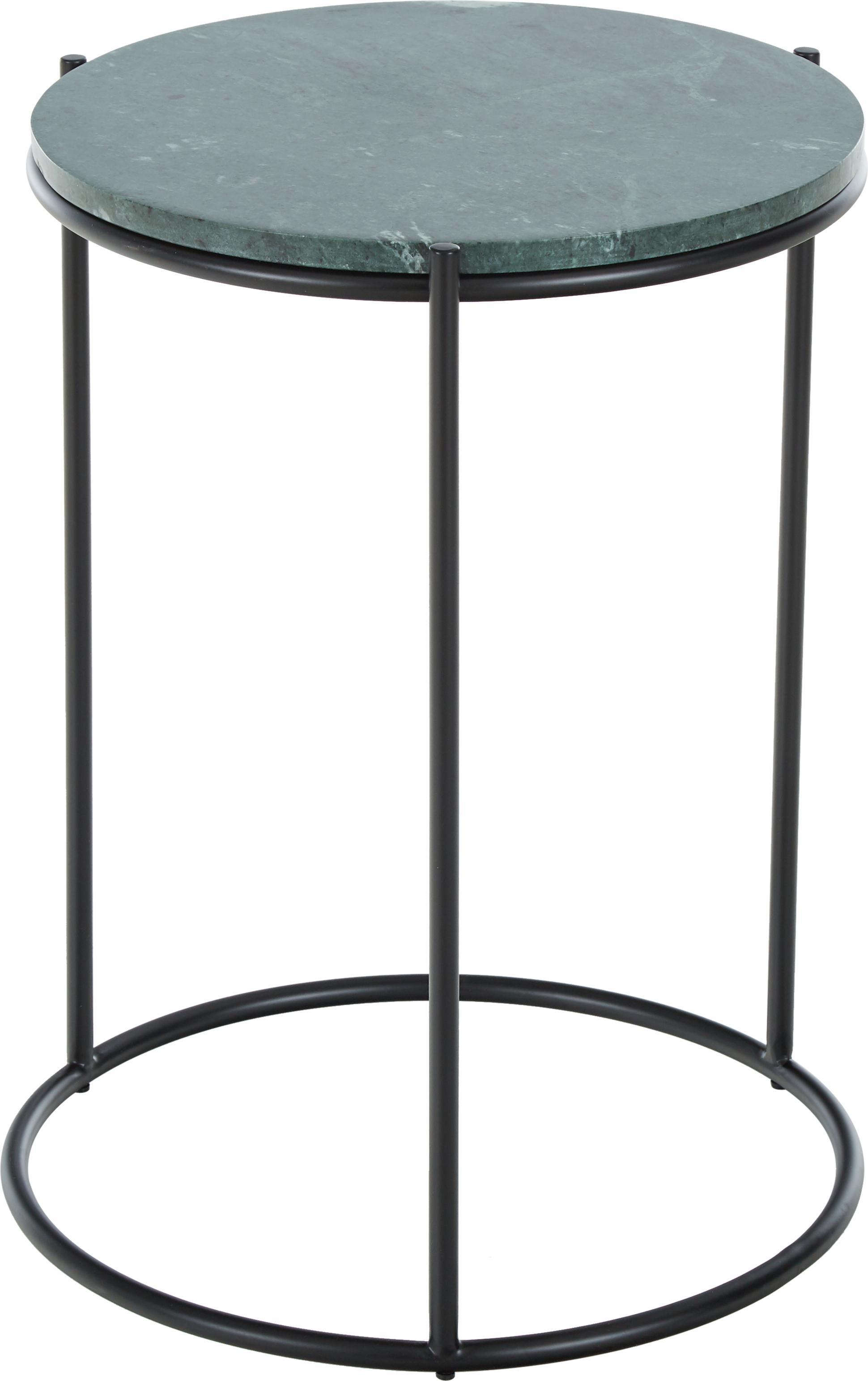 Ronde marmeren bijzettafel Ella, Tafelblad: marmer natuursteen, Frame: gepoedercoat metaal, Tafelblad: groen marmer. Frame: mat zwart, Ø 40 x H 50 cm